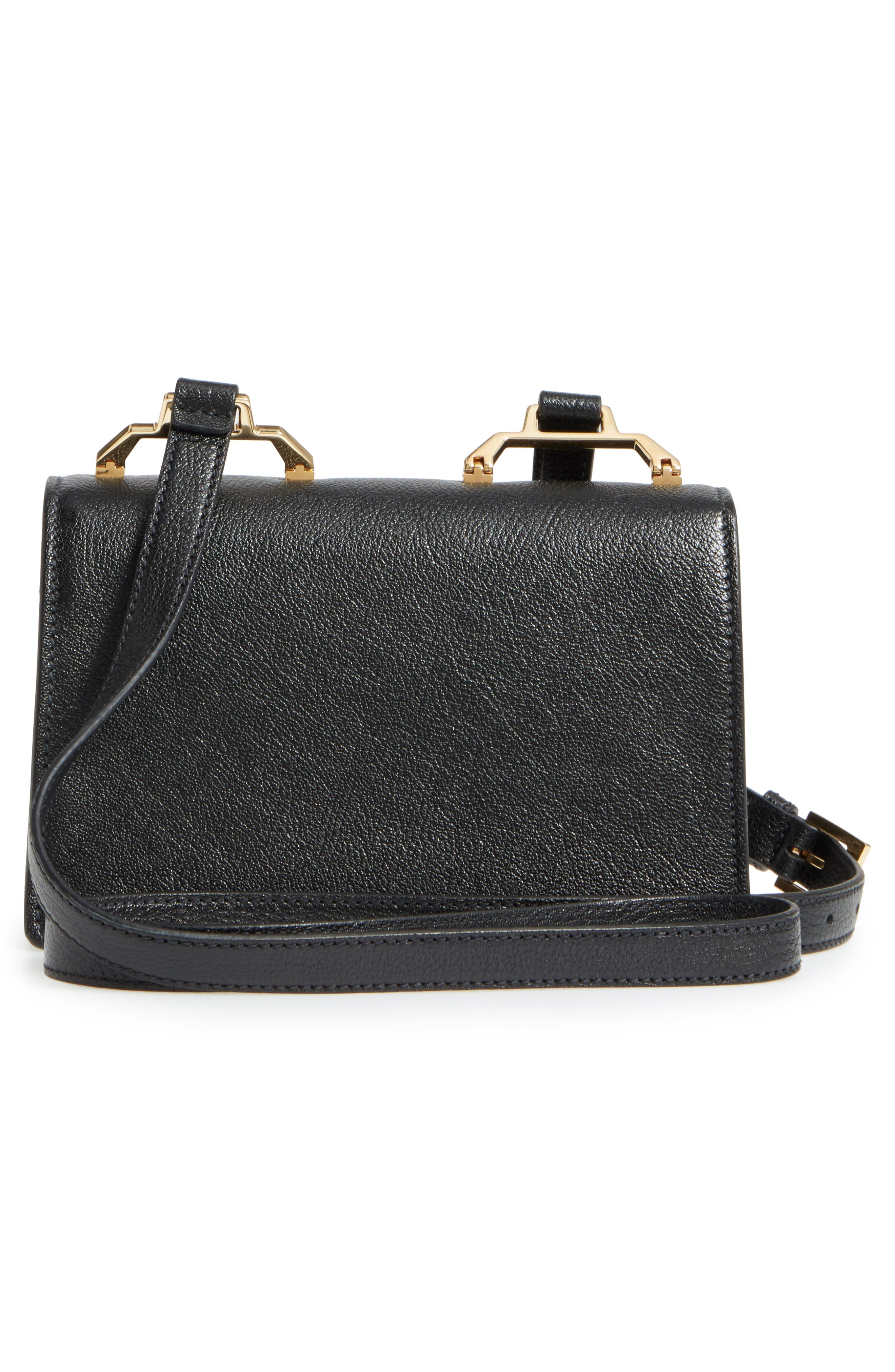 Madras Leather Crossbody Bag,                             Alternate thumbnail 3, color,                             Nero