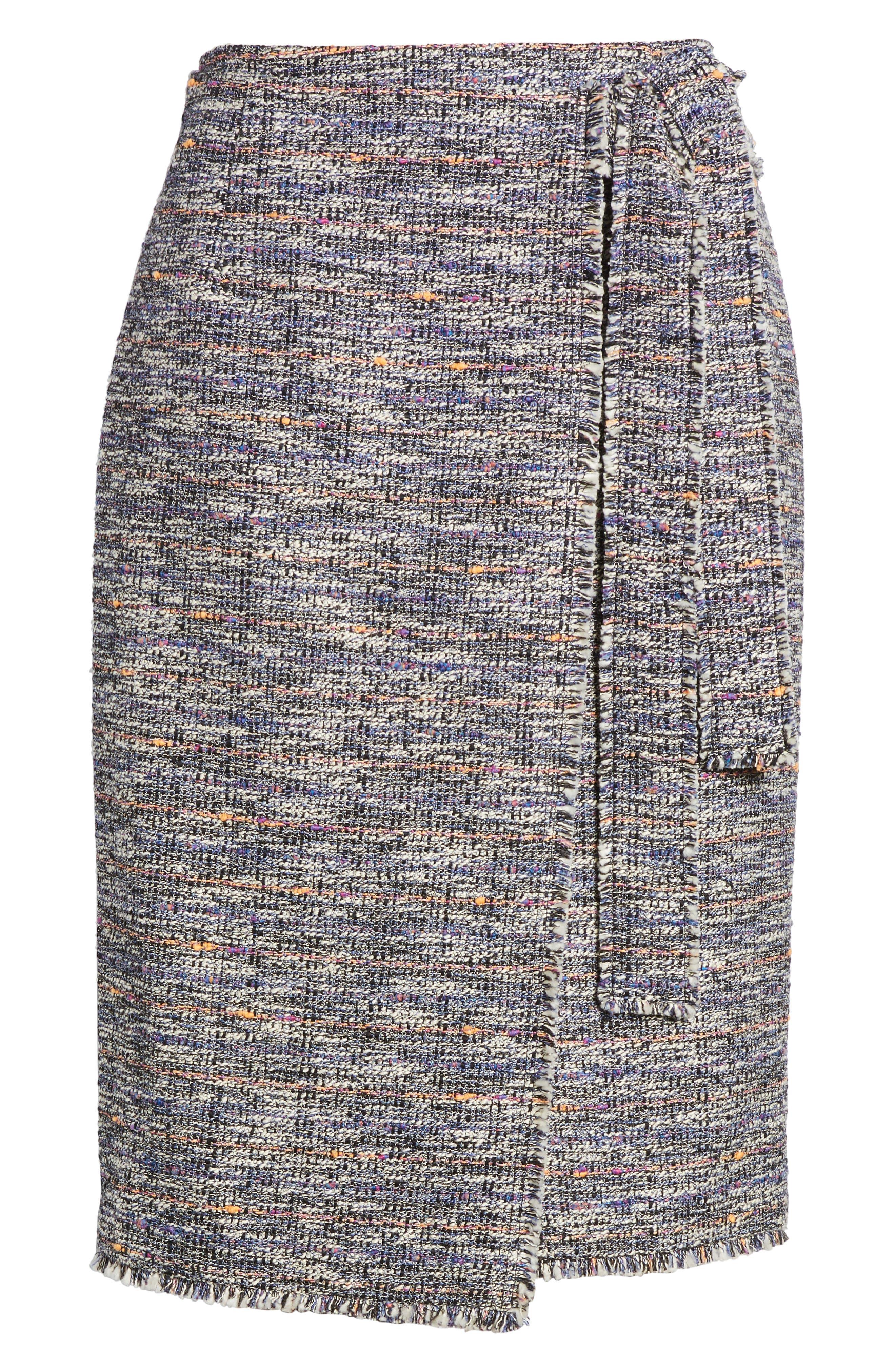 Tie Detail Pencil Skirt,                             Alternate thumbnail 6, color,                             Black Multi Tweed
