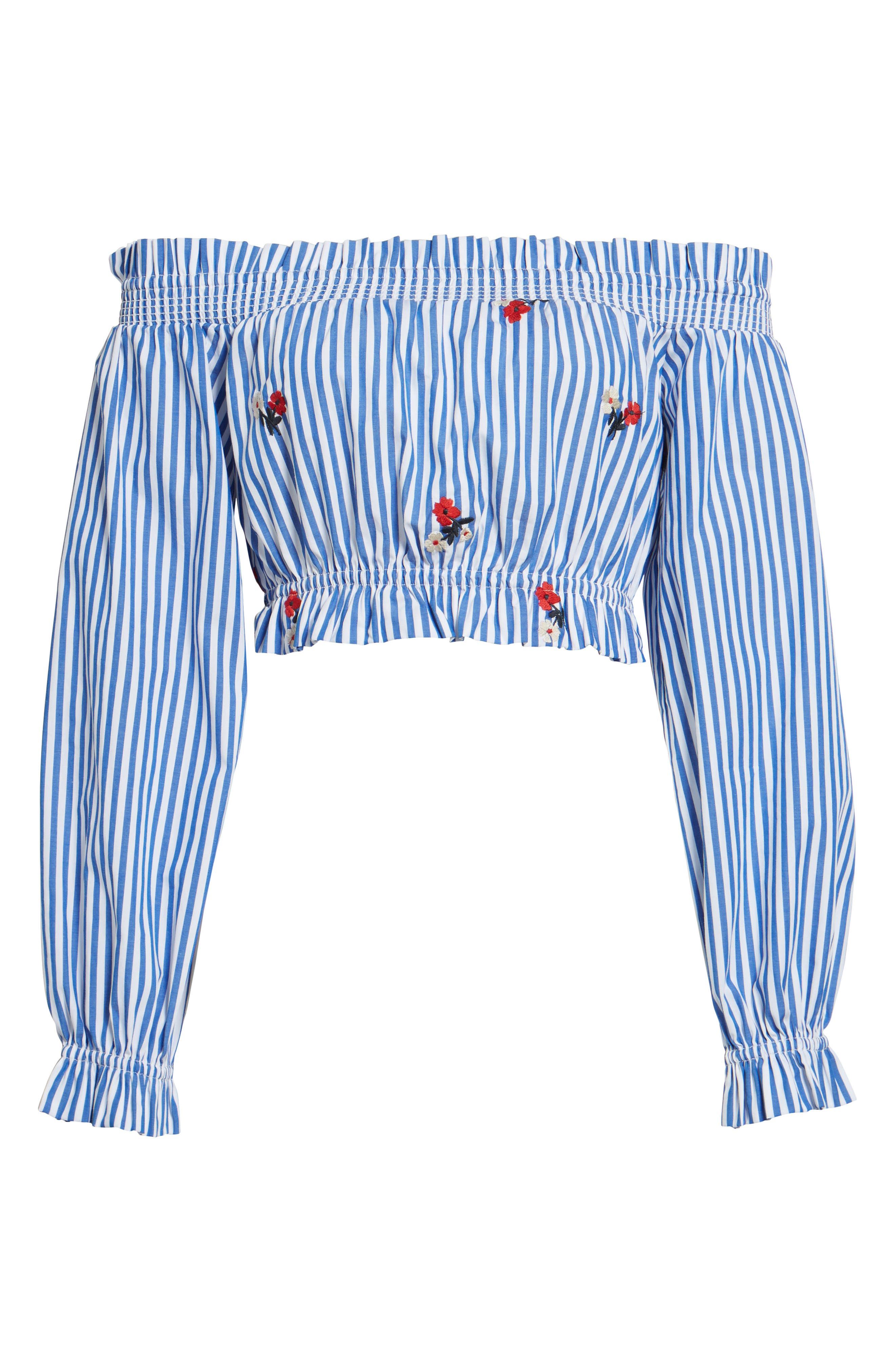 Chloe + Katie Embroidered Off the Shoulder Crop Top,                             Alternate thumbnail 6, color,                             Blue/ White Stripe