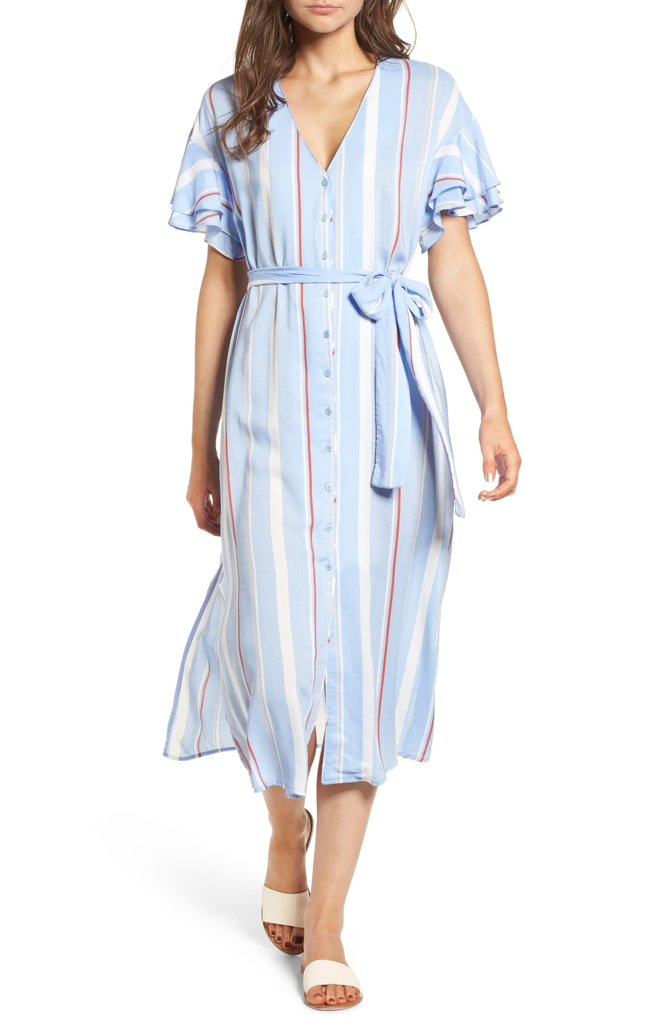 Button Down Midi Shirtdress,                             Main thumbnail 1, color,                             Light Blue-Rust