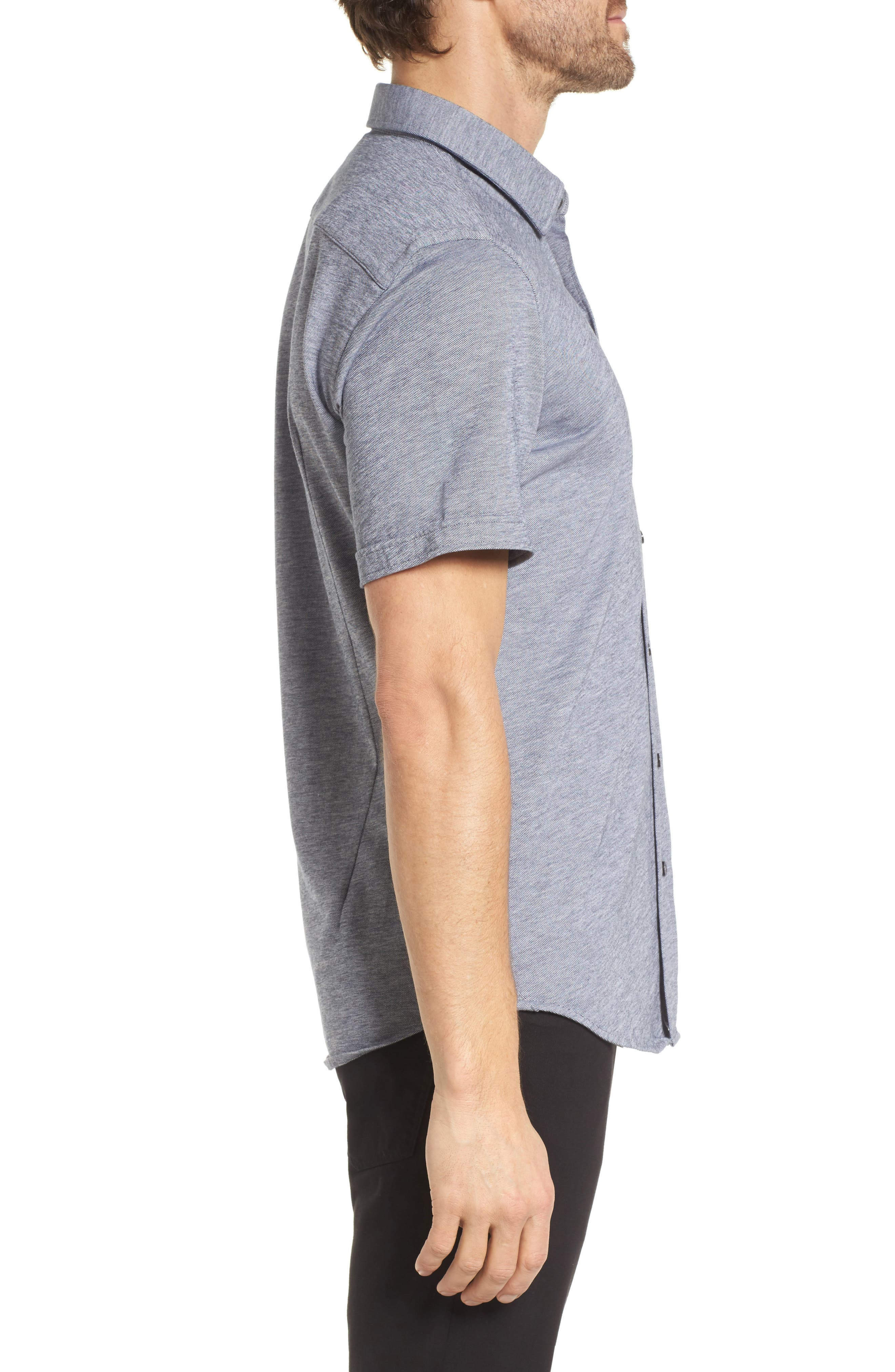 Robb Slim Fit Short Sleeve Sport Shirt,                             Alternate thumbnail 3, color,                             Light Blue