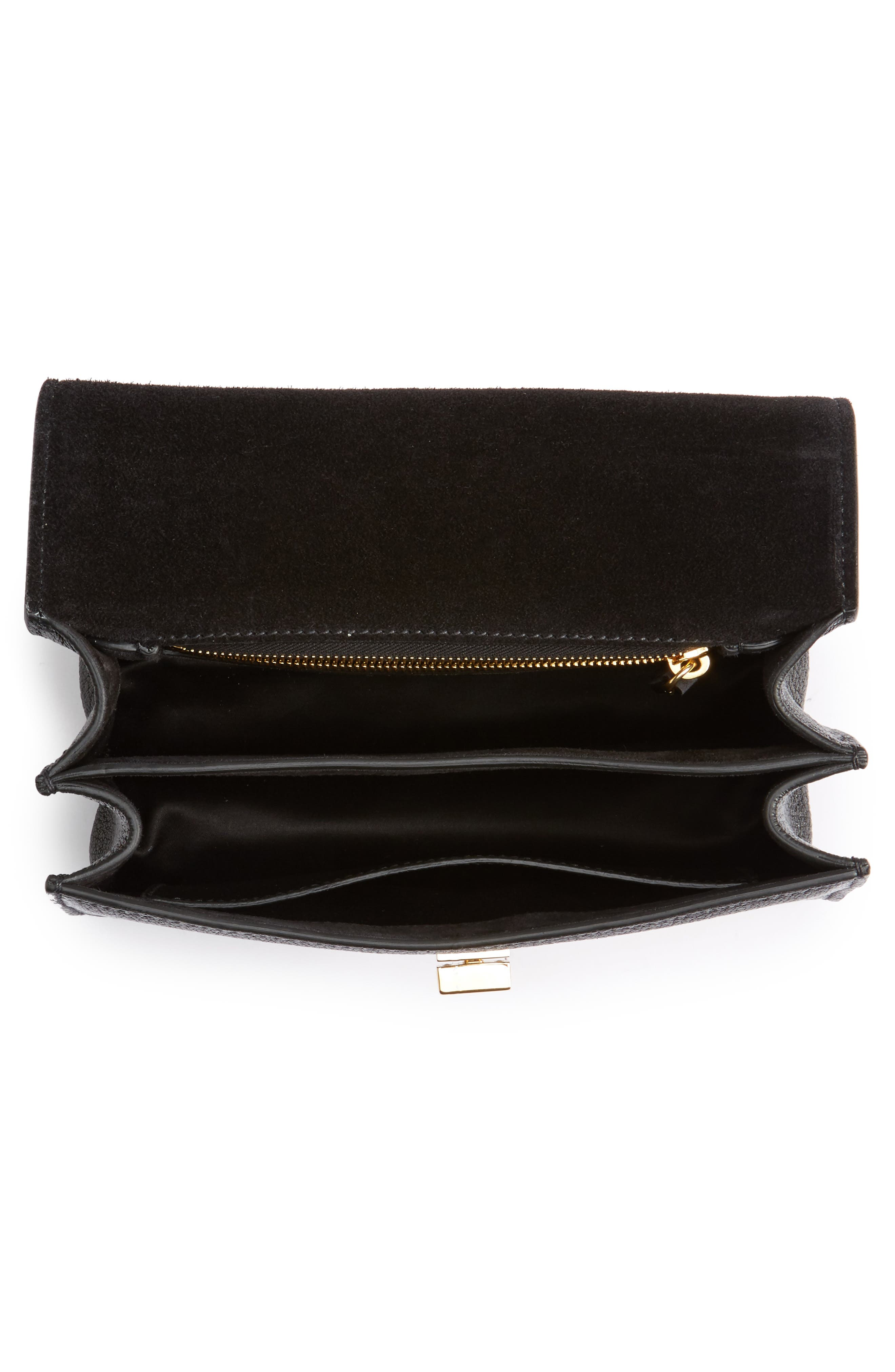 Madras Leather Crossbody Bag,                             Alternate thumbnail 5, color,                             Nero