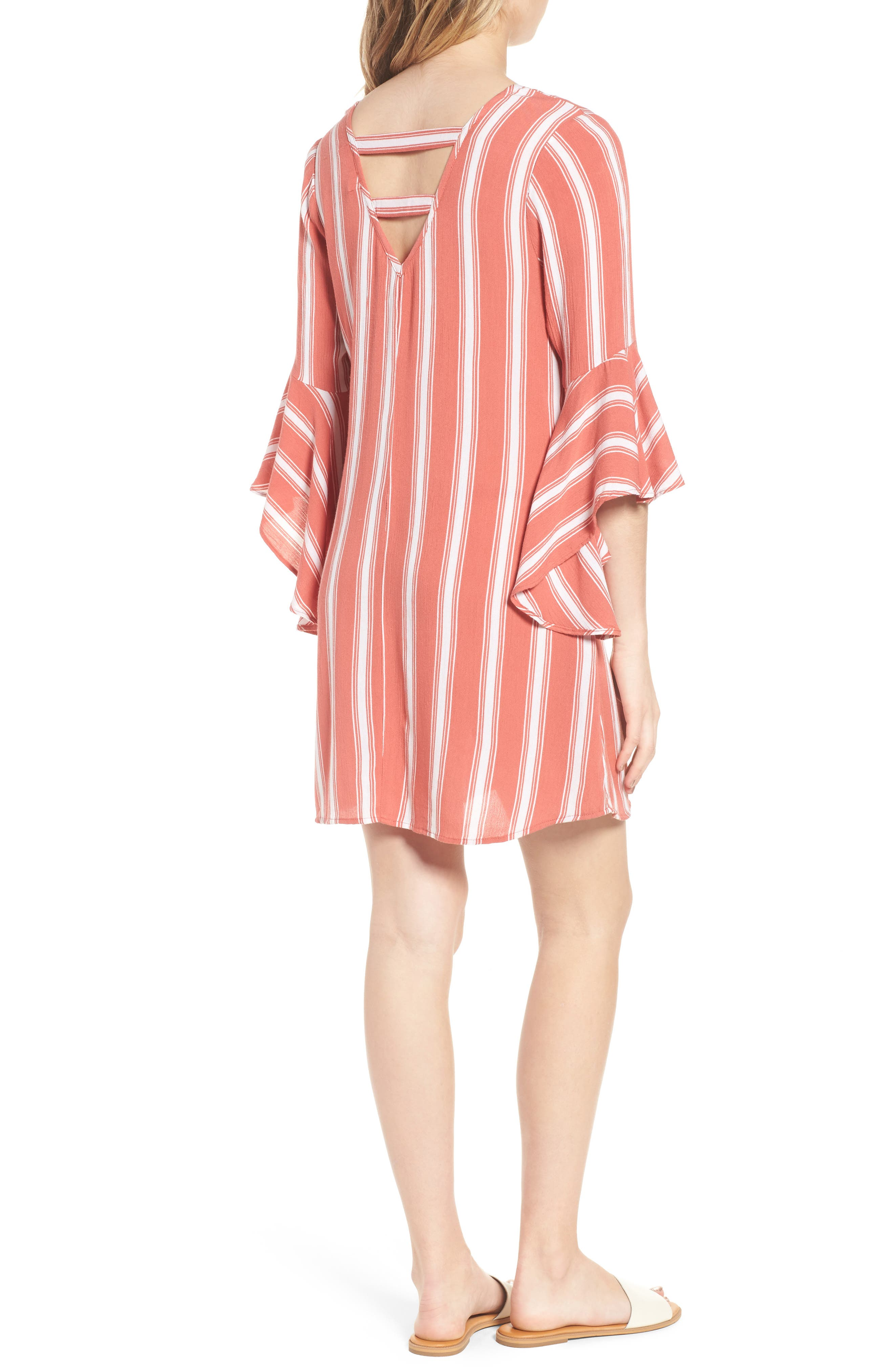 Ruffle Bell Sleeve Dress,                             Alternate thumbnail 2, color,                             Dusty Coral/ Ivory