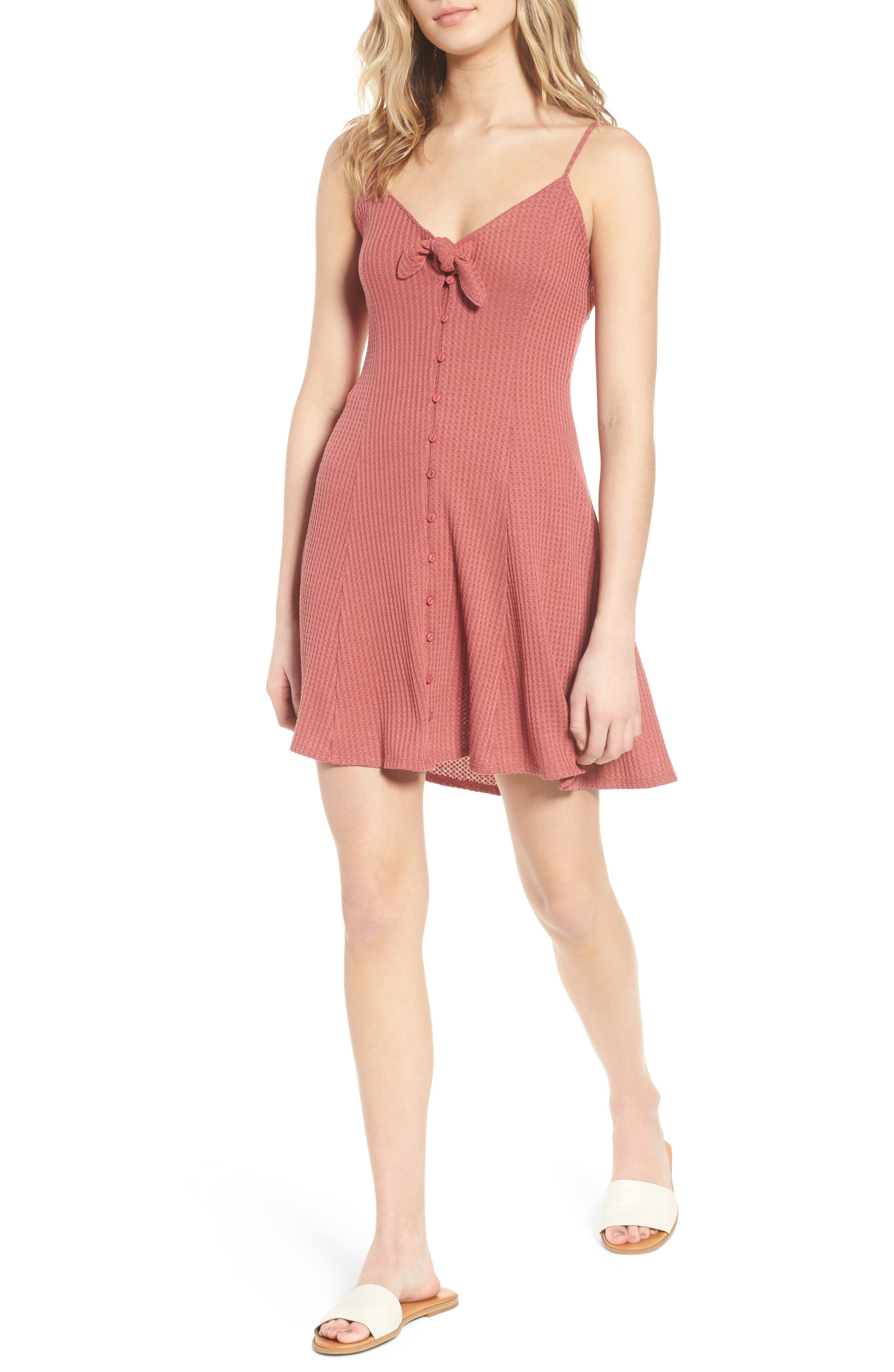 Lost Lovers Thermal Minidress,                         Main,                         color, Baked Pink