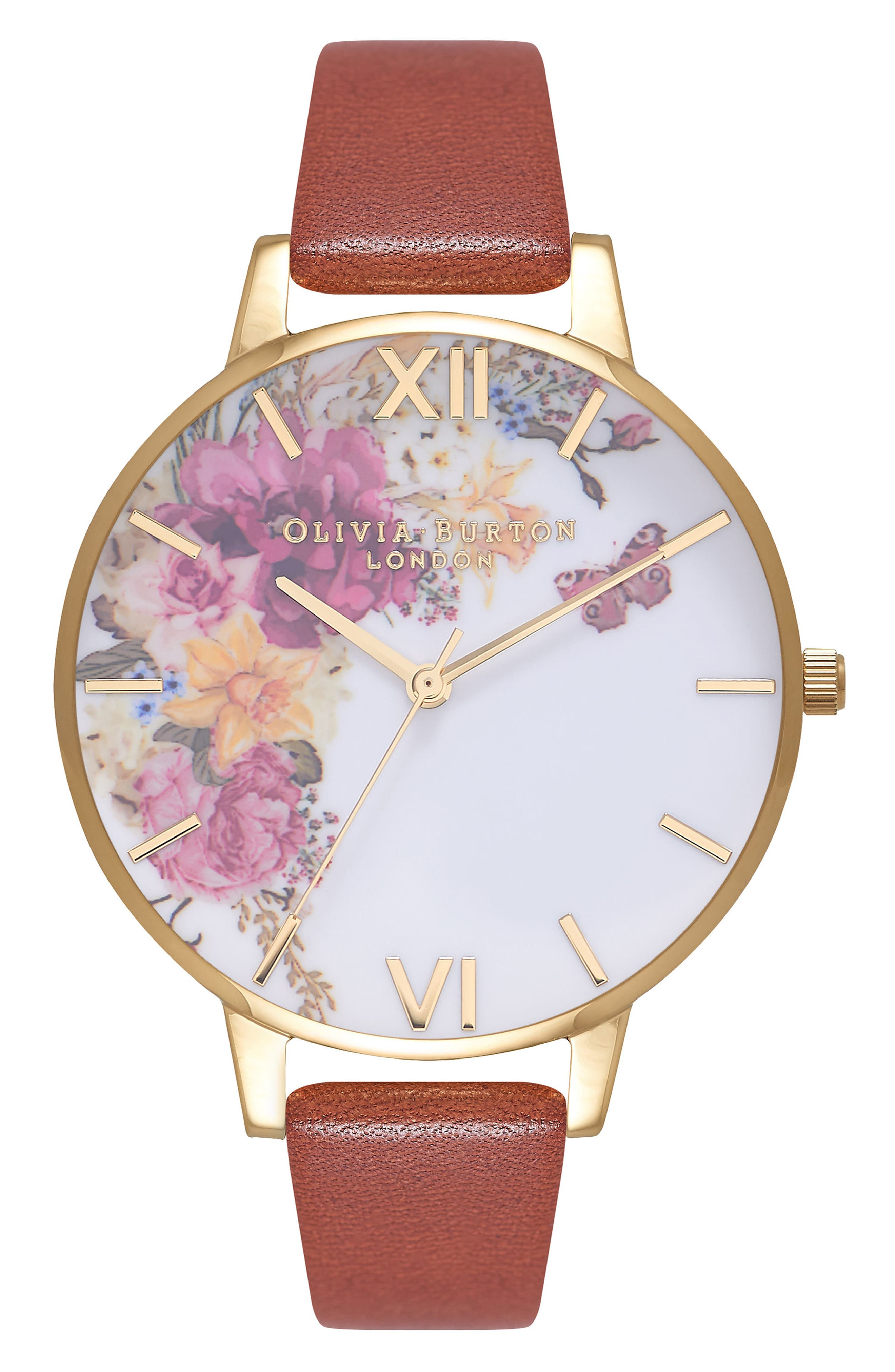 Enchanted Garden Leather Strap Watch, 38mm,                         Main,                         color, Tan/ White Floral/ Gold
