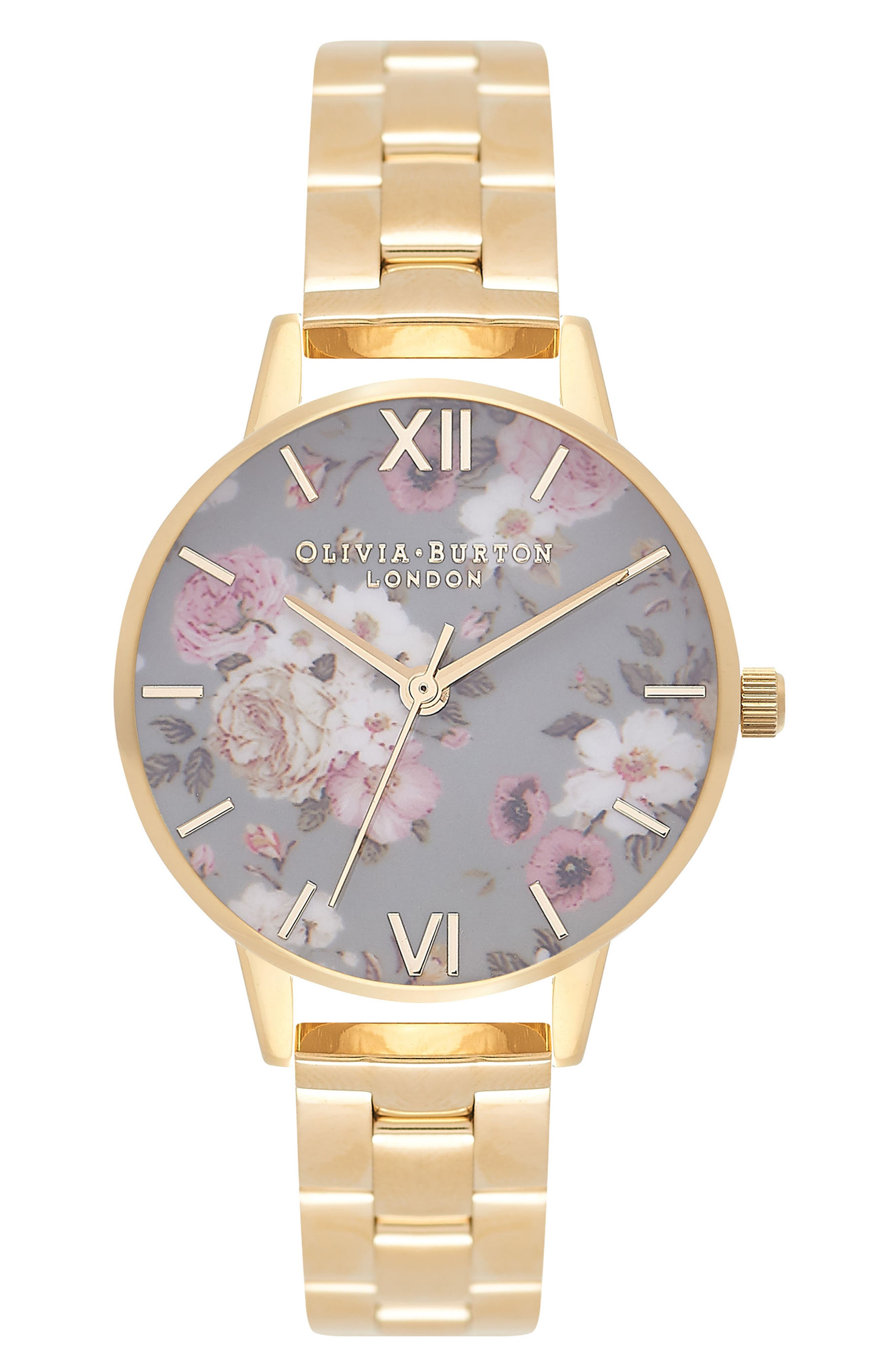 Winter Garden Bracelet Watch, 30mm,                             Main thumbnail 1, color,                             Gold/ Grey Floral/ Gold