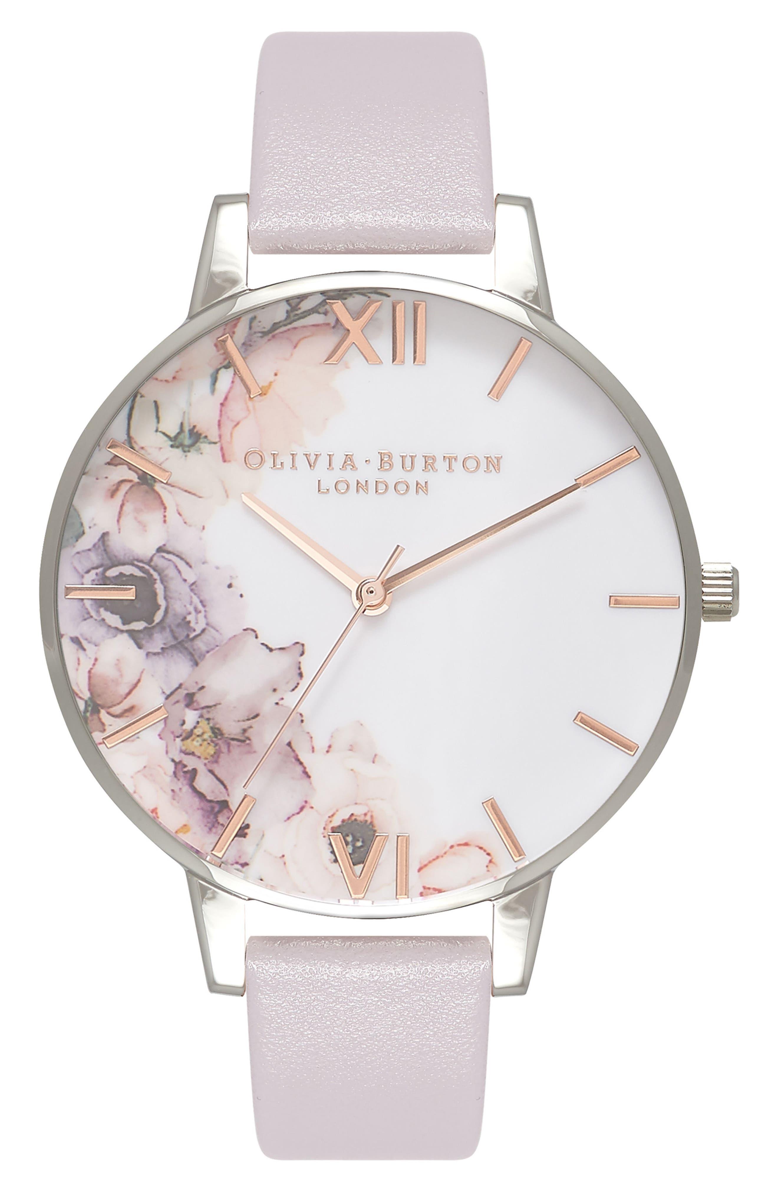 Main Image - Olivia Burton Watercolour Florals Leather Strap Watch, 38mm