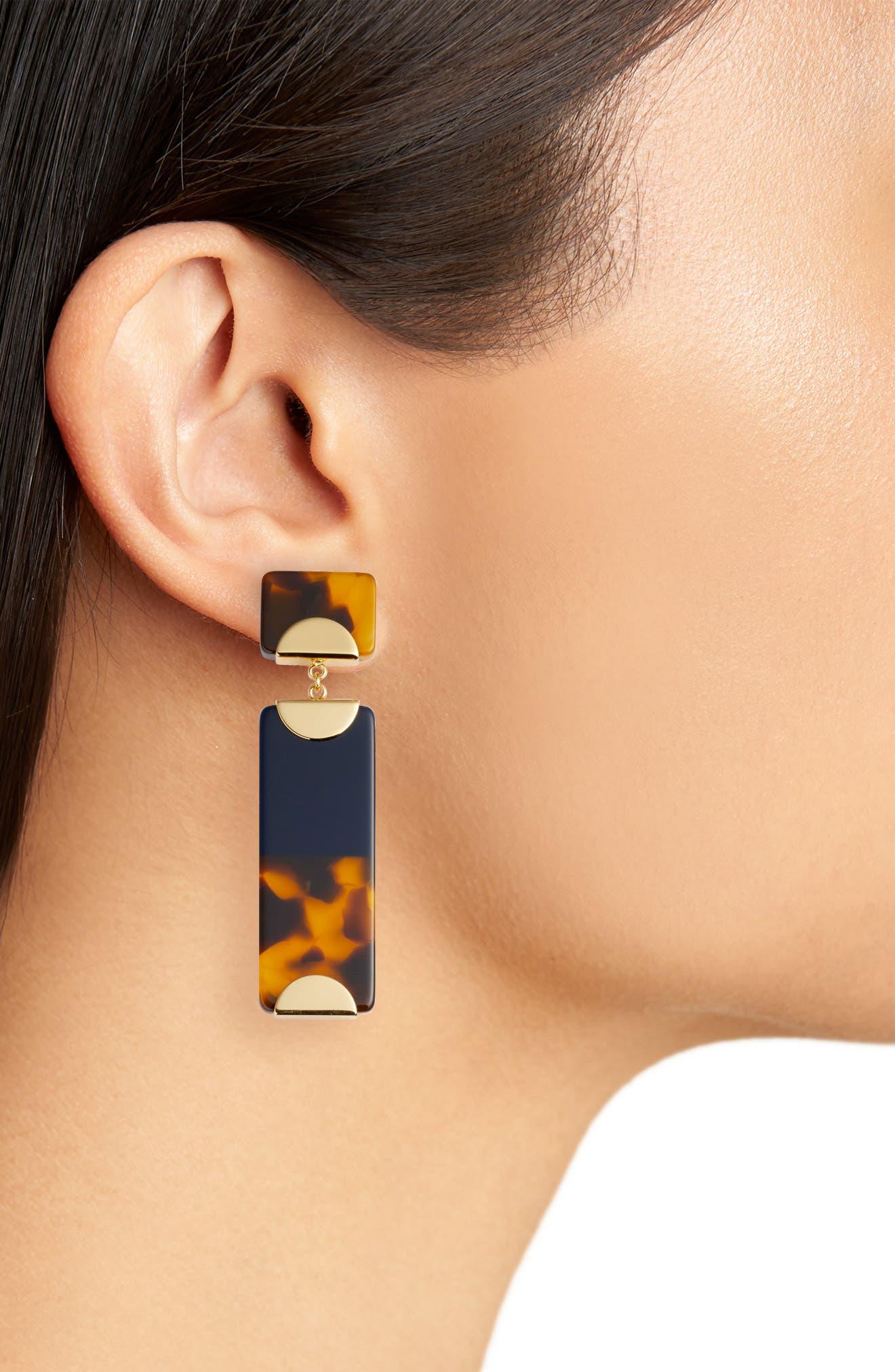 Resin Colorblock Drop Earrings,                             Alternate thumbnail 2, color,                             Tory Navy/ Tortoise