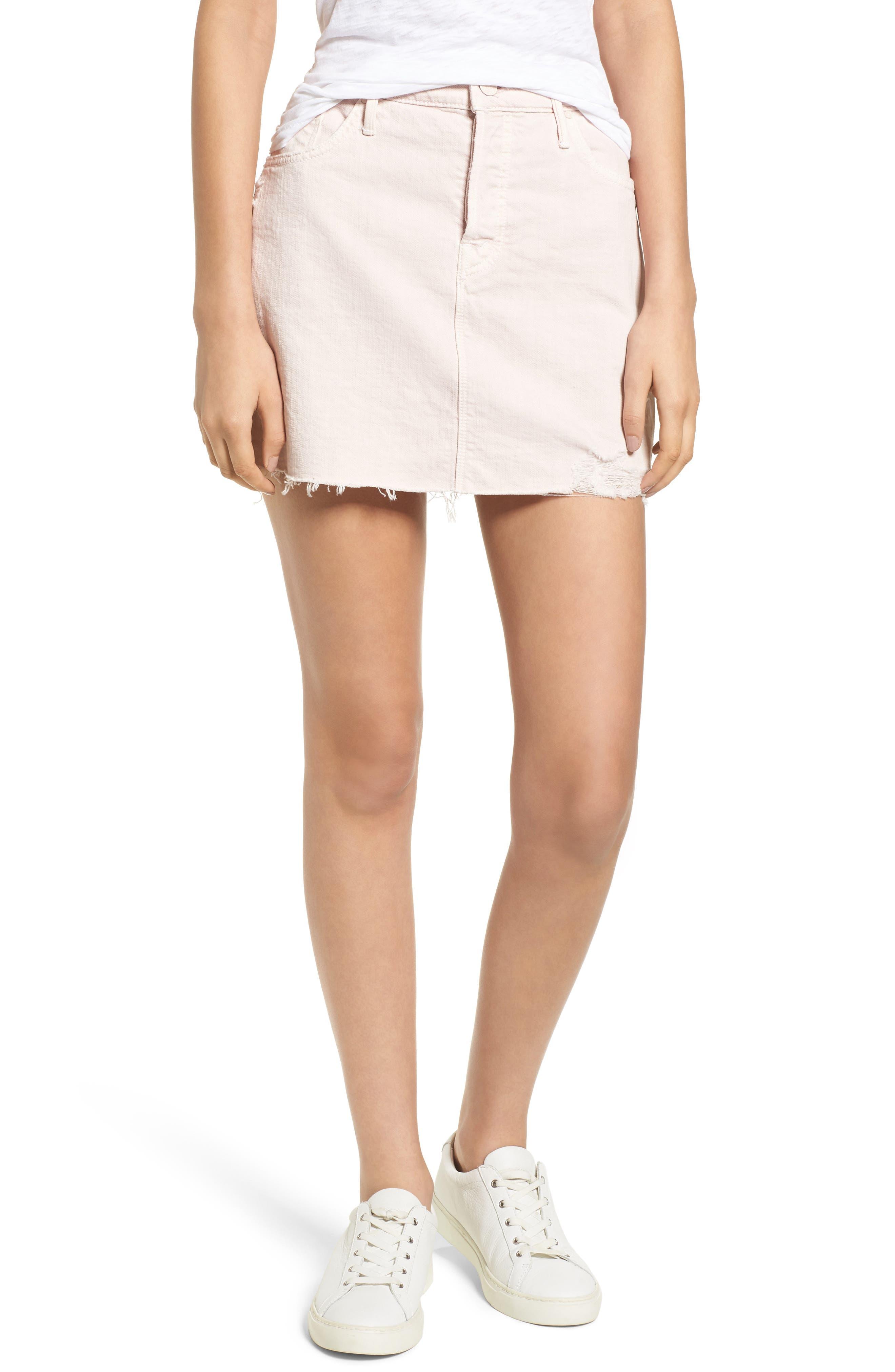 The Vagabond Cutoff Denim Miniskirt,                         Main,                         color, Soft Pink