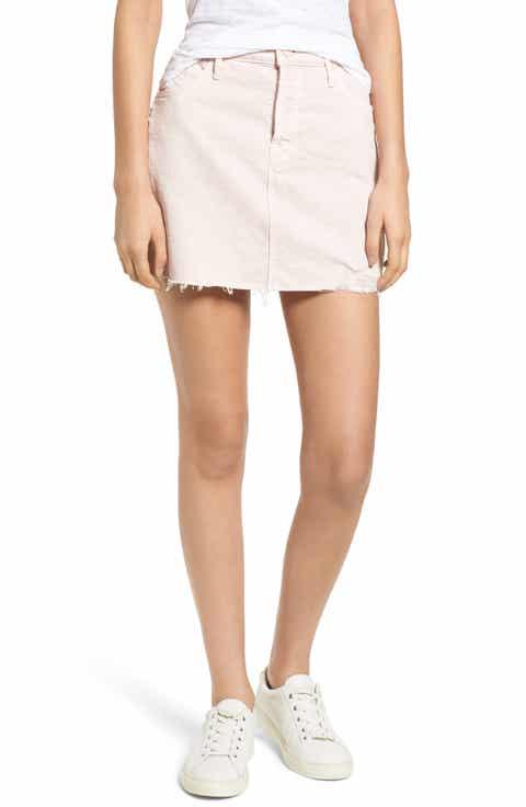 MOTHER The Vagabond Cutoff Denim Miniskirt (Soft Pink)