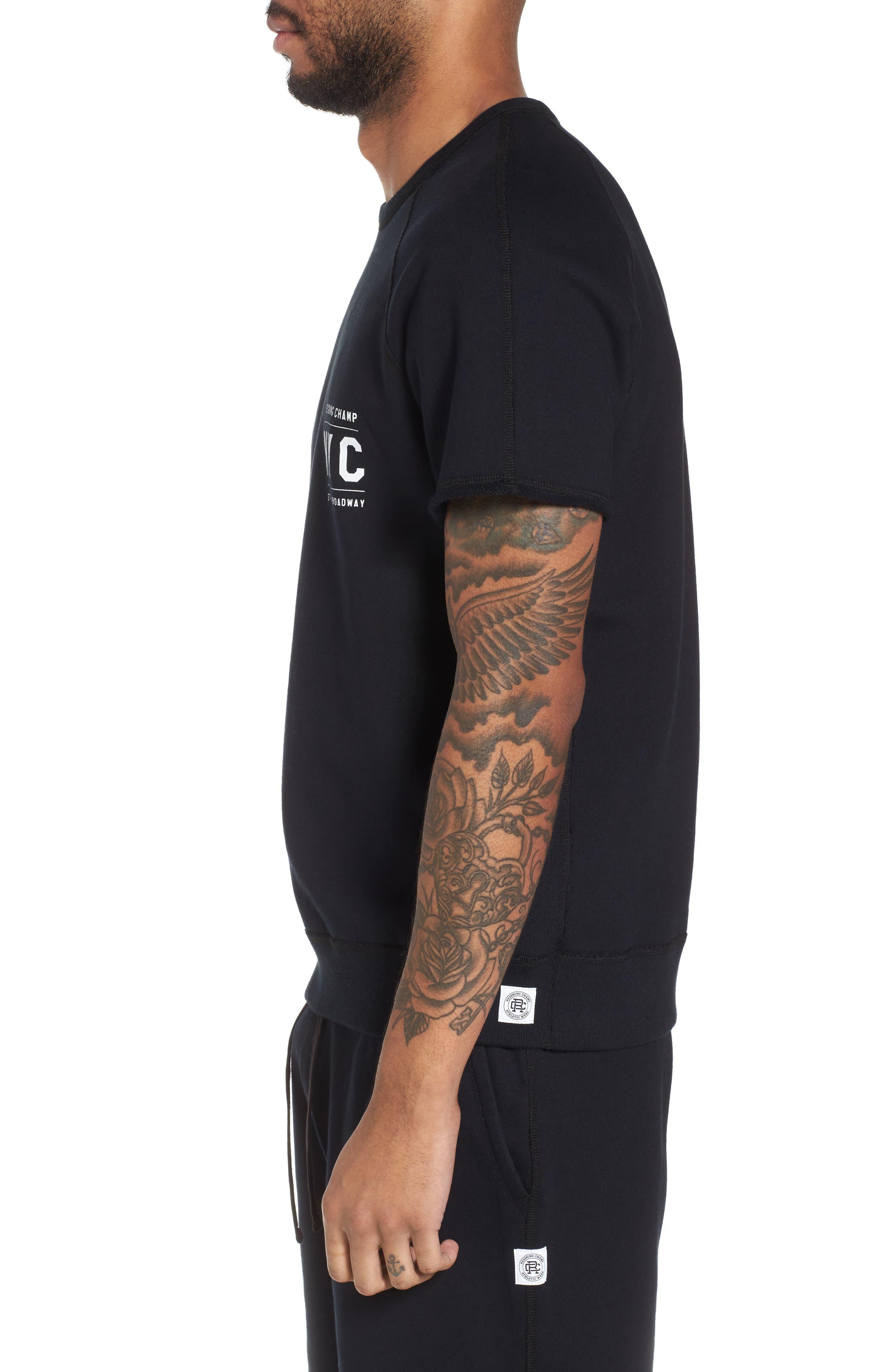 Cutoff Short Sleeve Sweatshirt,                             Alternate thumbnail 3, color,                             Black