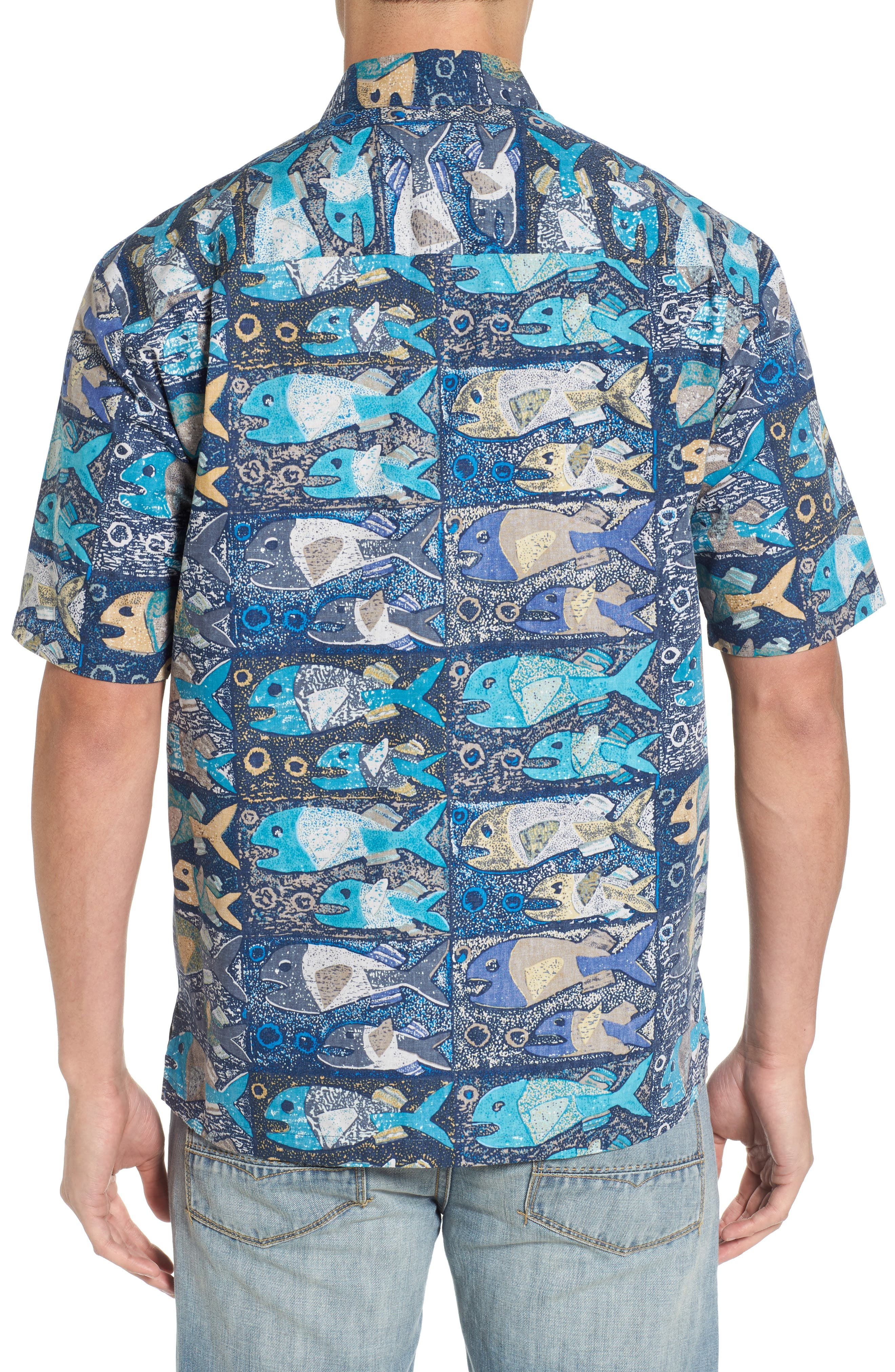 Stone Fish Print Sport Shirt,                             Alternate thumbnail 2, color,                             Navy