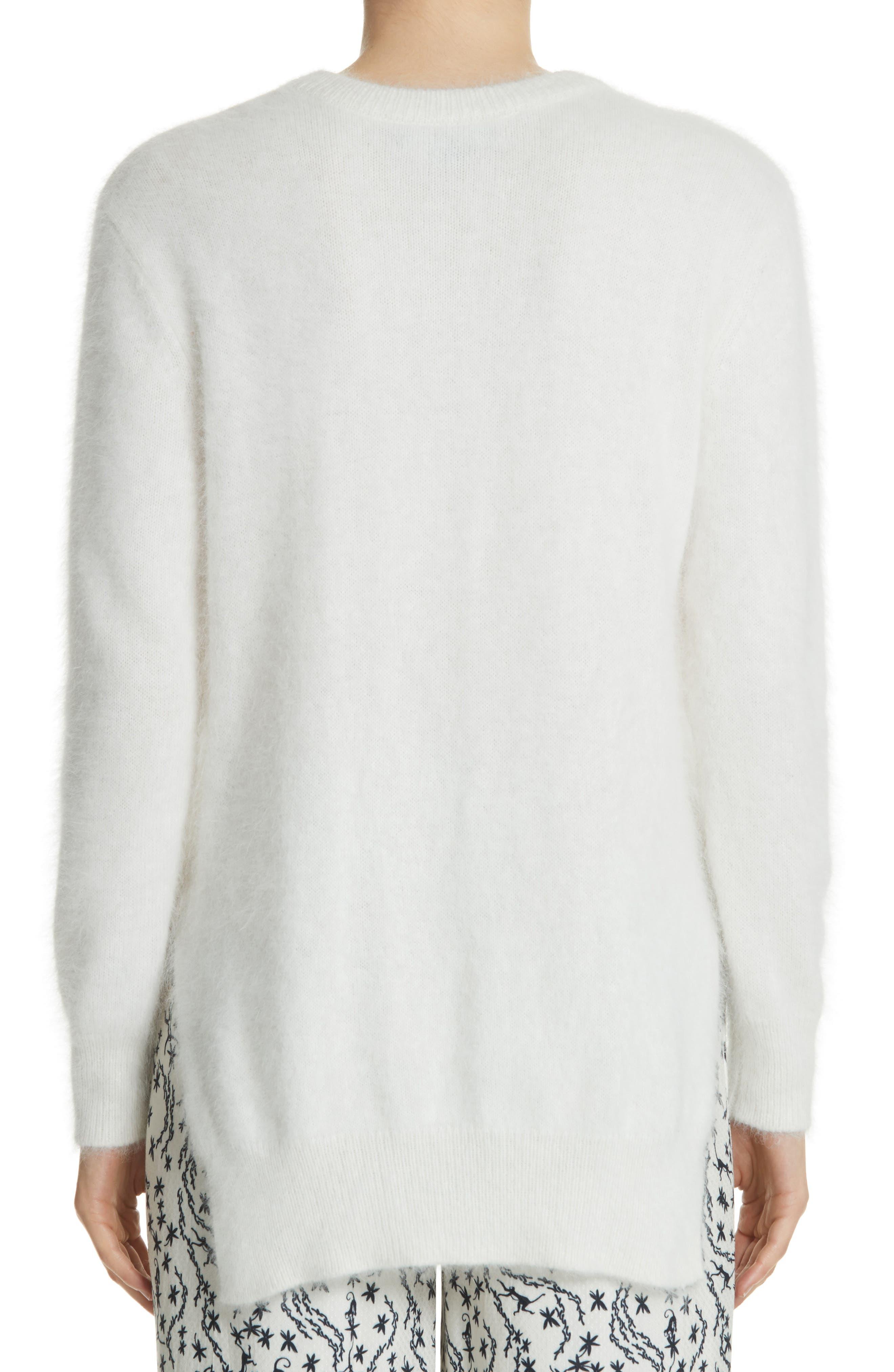 Step Hem Angora Sweater,                             Alternate thumbnail 2, color,                             Off White