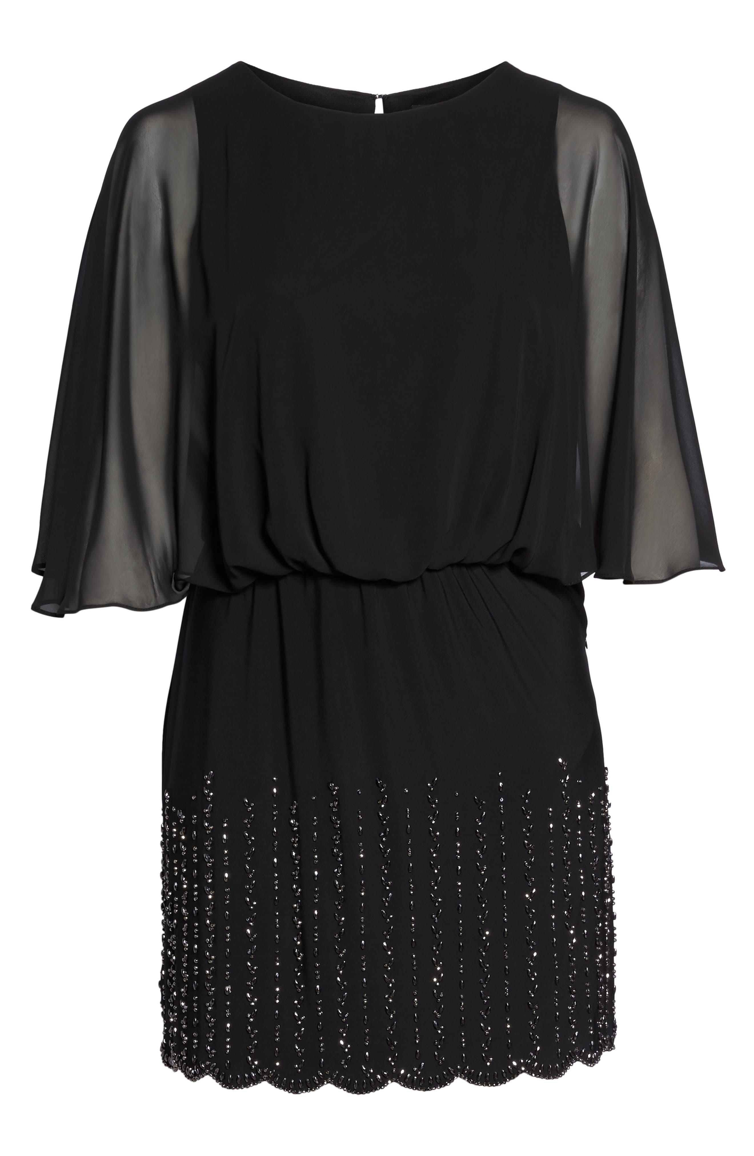 Beaded Overlay Dress,                             Alternate thumbnail 6, color,                             Black