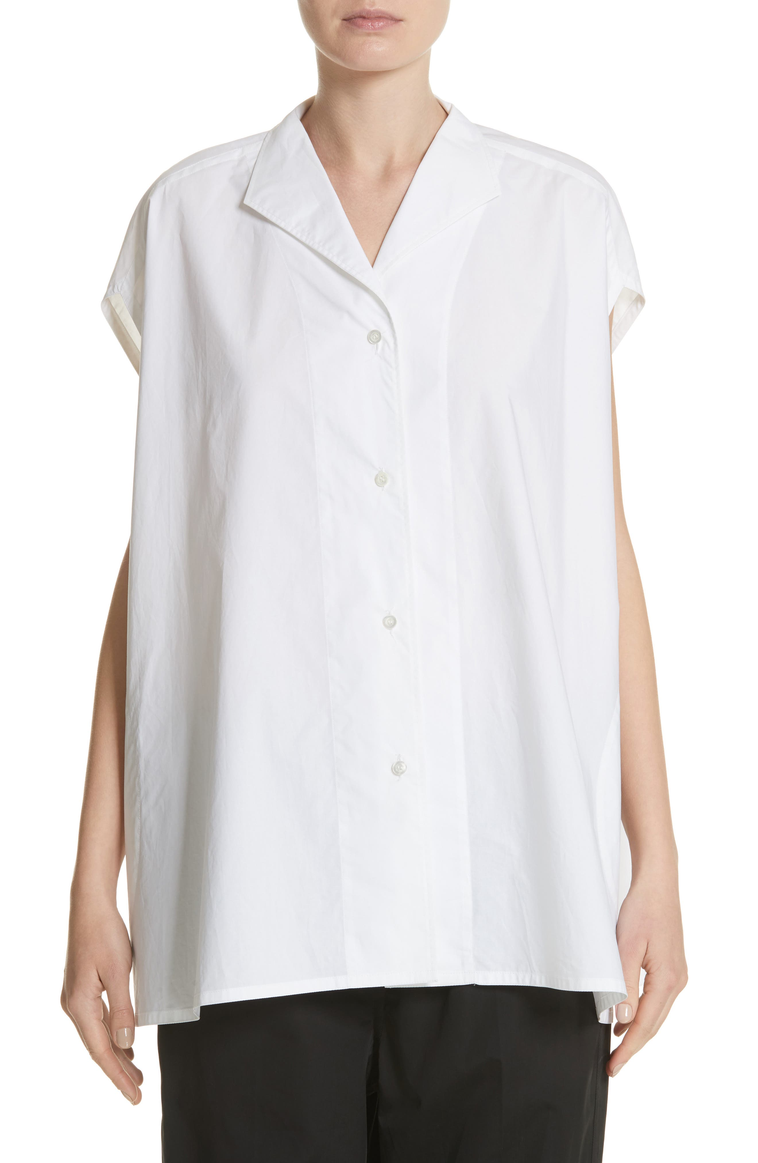Sleeveless Cotton Blouse,                         Main,                         color, Optical White