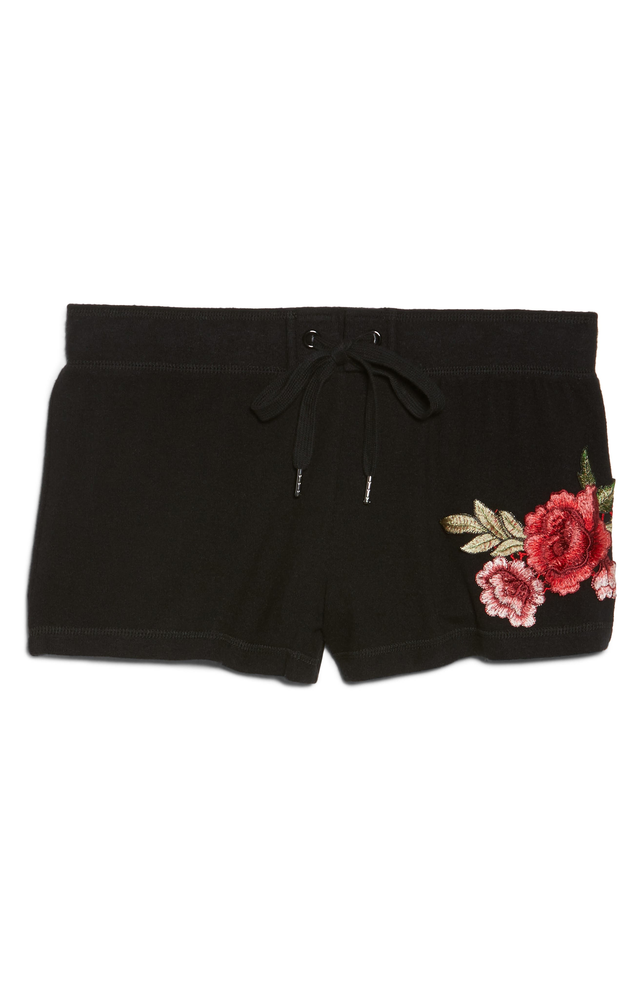 Embroidered Lounge Shorts,                             Alternate thumbnail 4, color,                             Black
