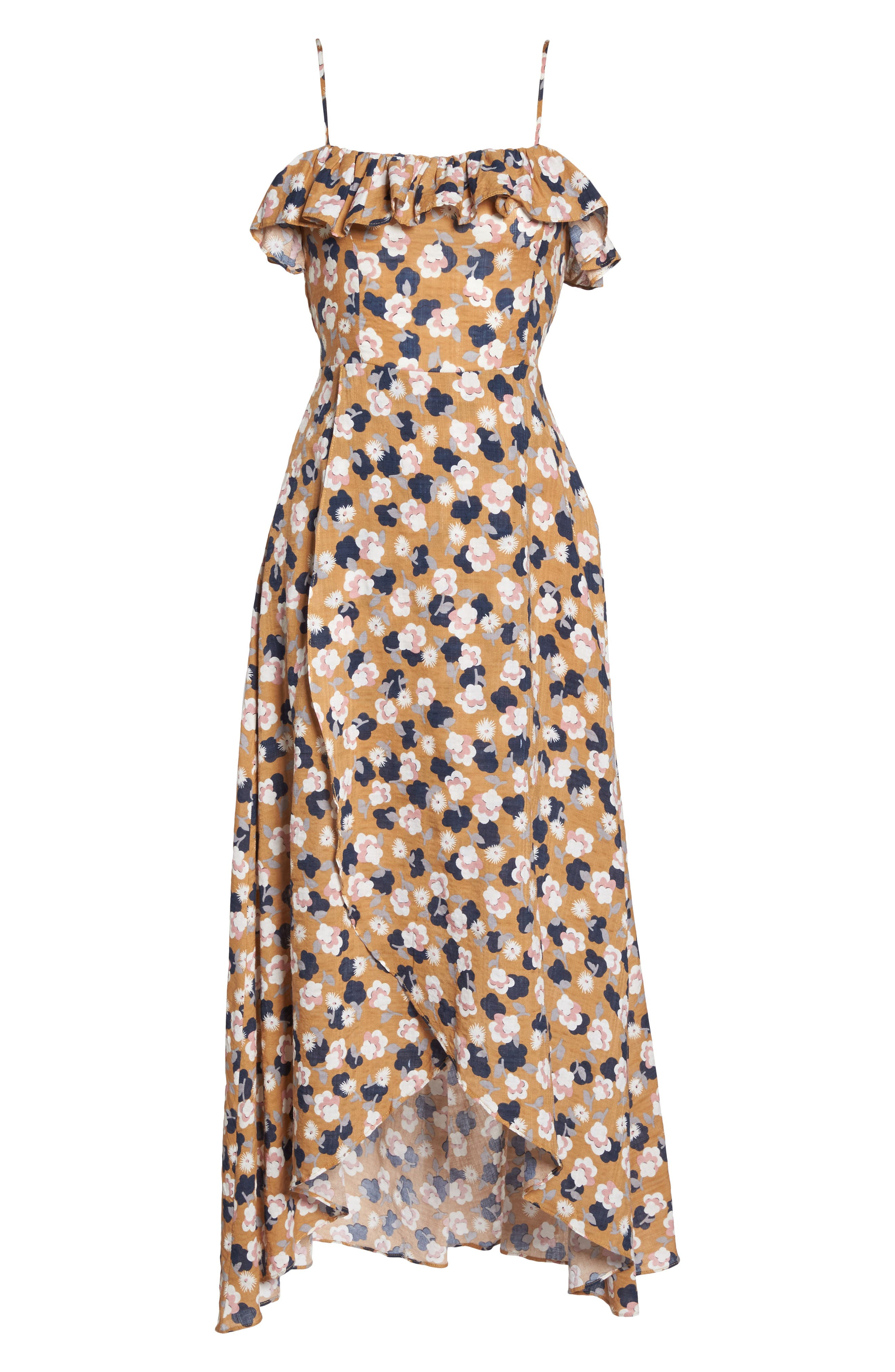 Floral Maxi Dress,                             Alternate thumbnail 6, color,                             Mustard