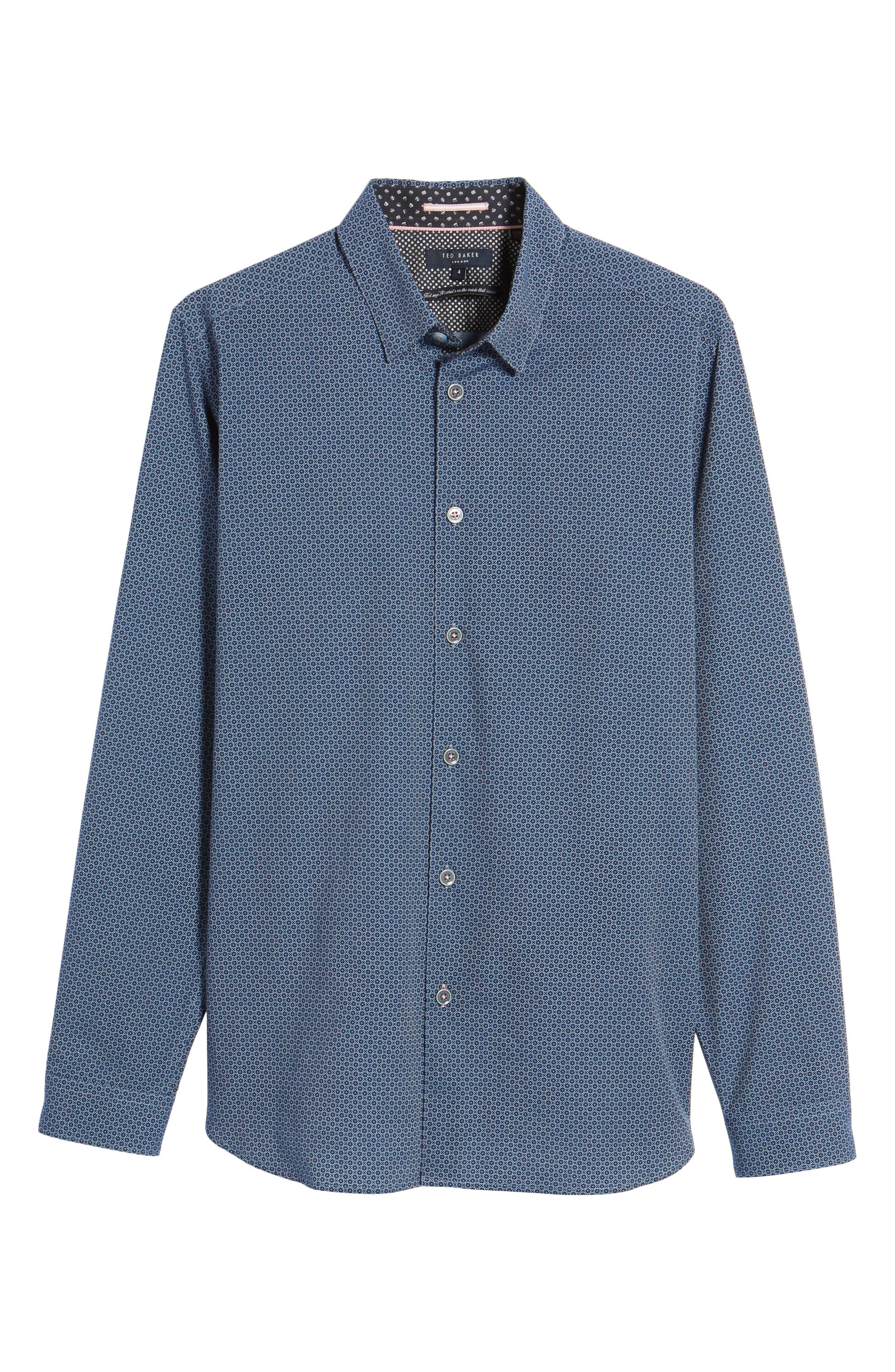 Holic Trim Fit Geometric Sport Shirt,                             Alternate thumbnail 6, color,                             Blue