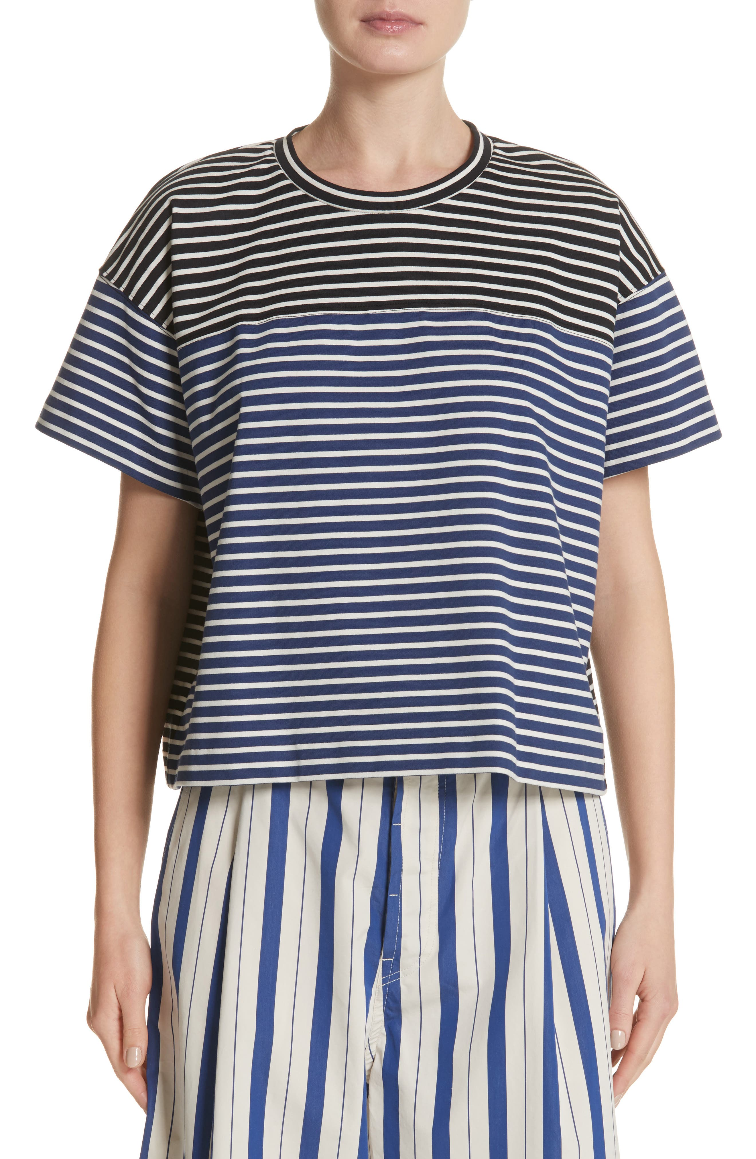 Nautical Stripe Tee,                             Main thumbnail 1, color,                             1 Navy/ Blumarine