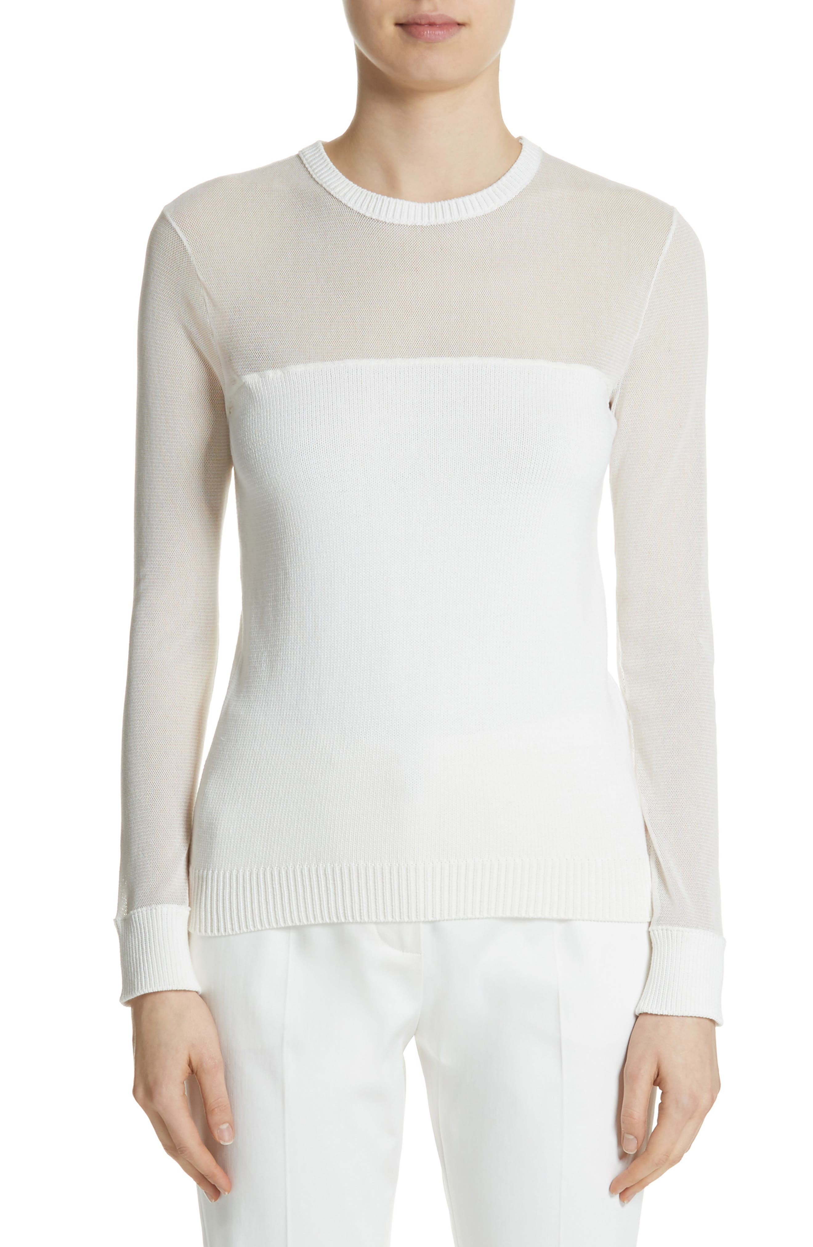 Cantore Mesh Yoke Sweater,                             Main thumbnail 1, color,                             Ivory