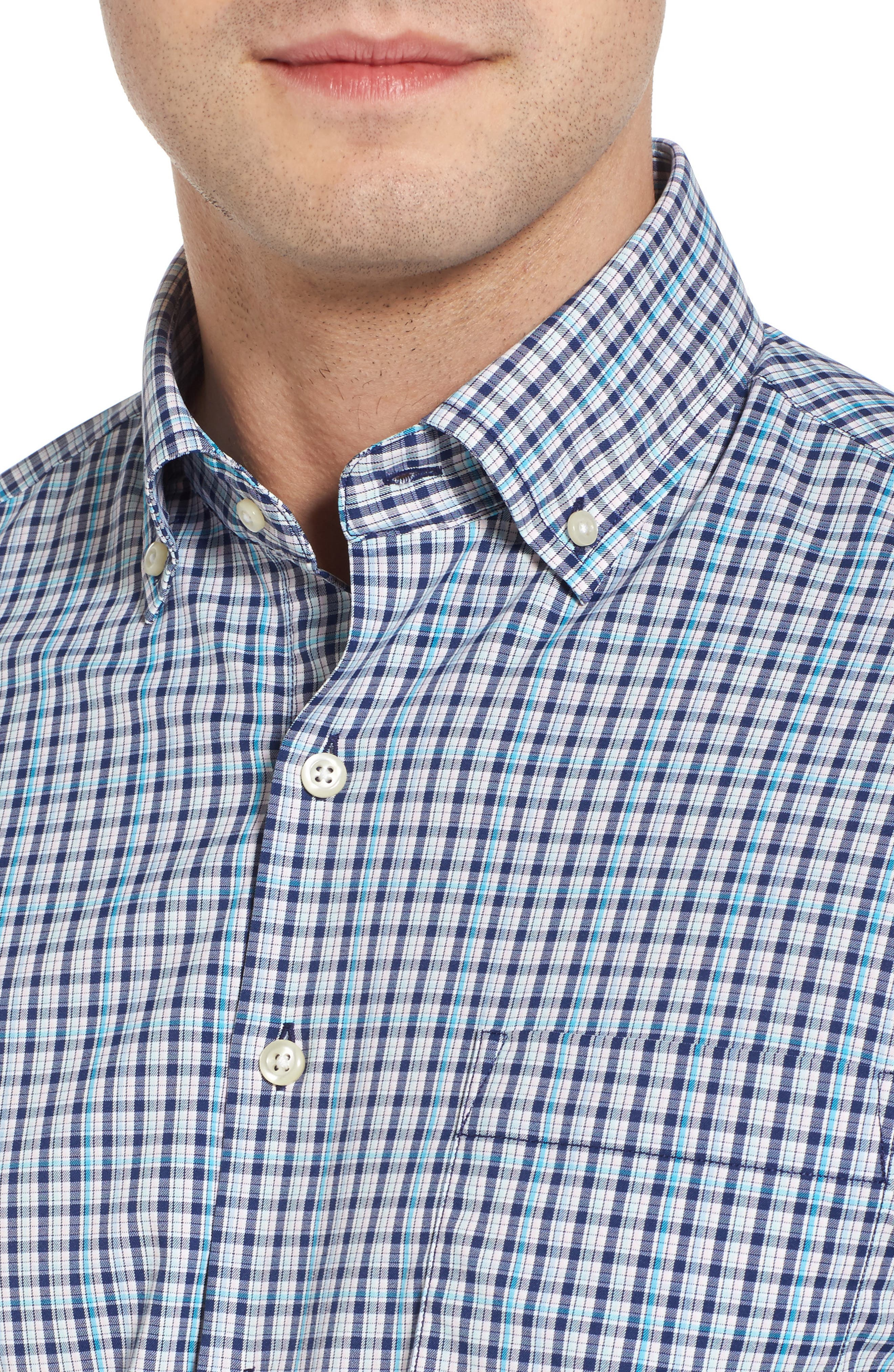 Jojo Check Performance Sport Shirt,                             Alternate thumbnail 4, color,                             Yankee Blue