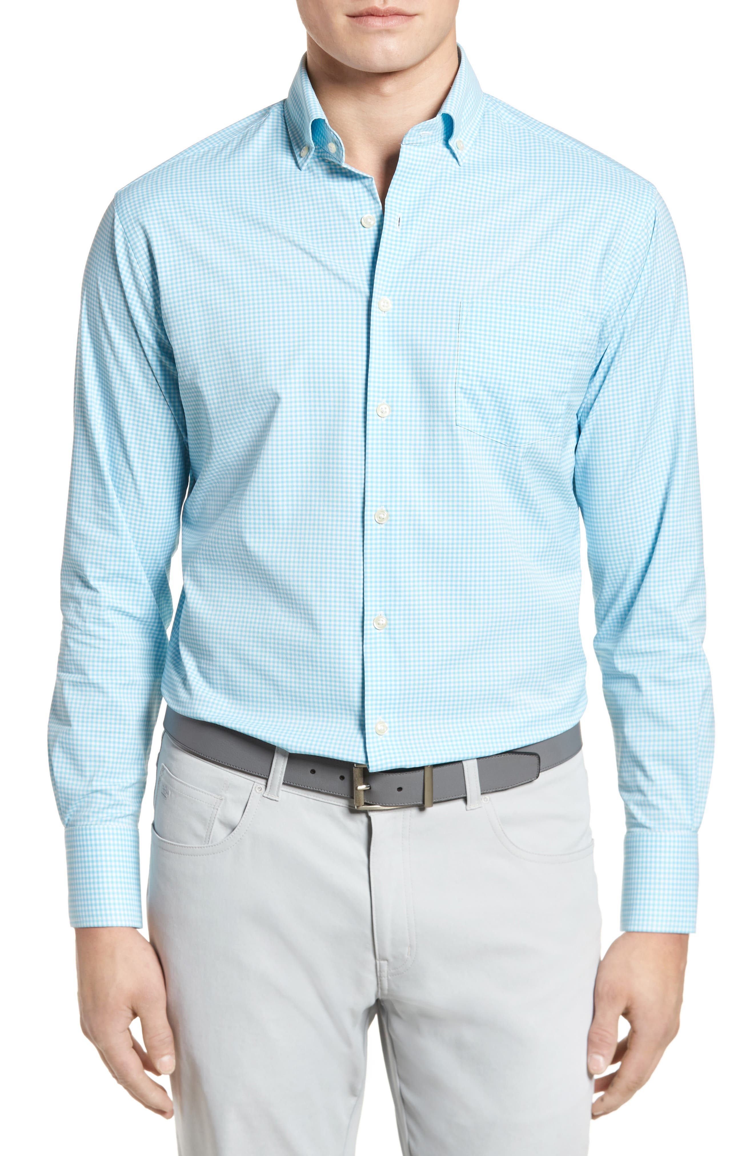 Mimi Regular Fit Check Performance Sport Shirt,                             Main thumbnail 1, color,                             Grotto Blue/ White