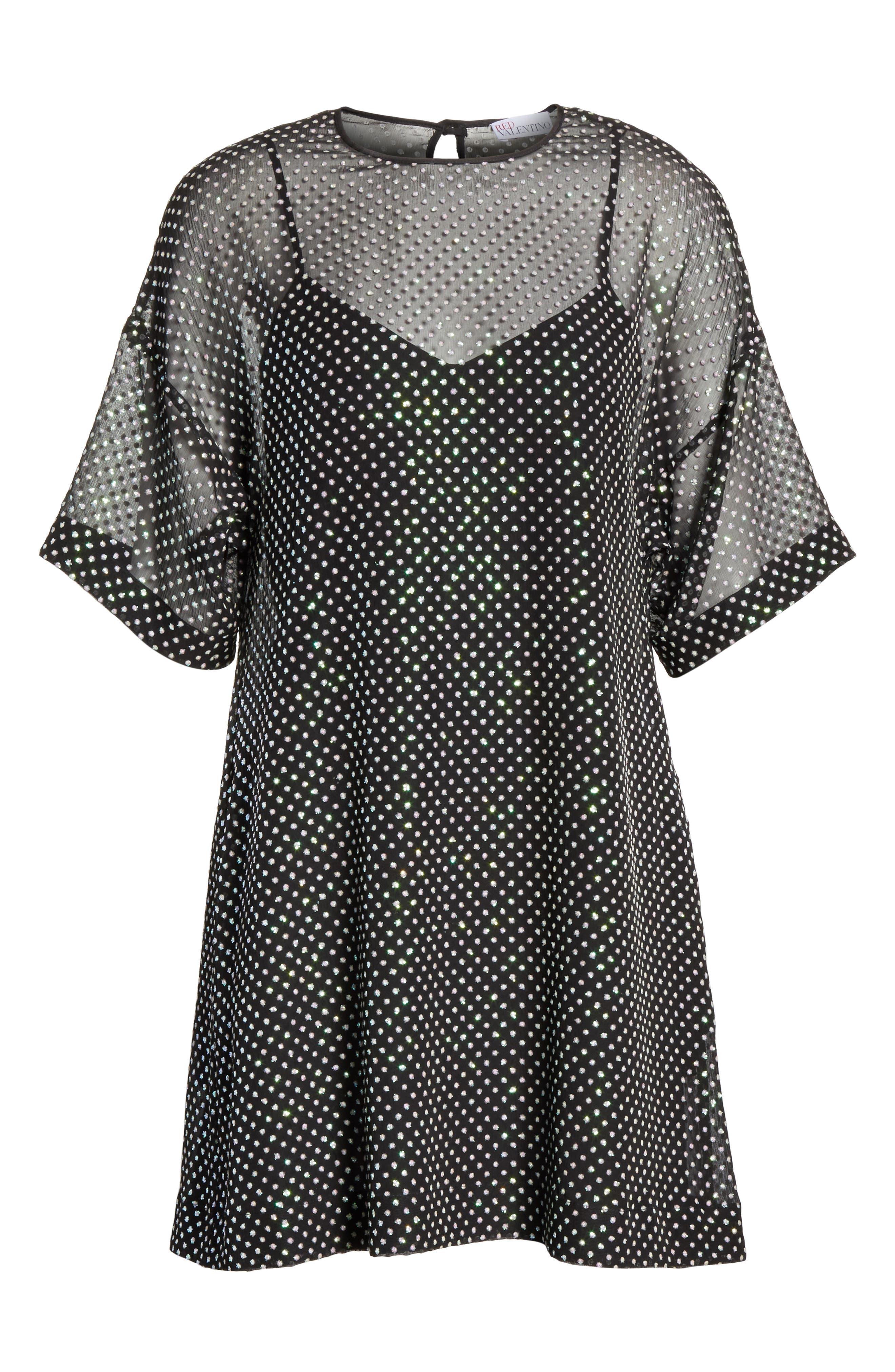 Creponne T-Shirt Dress,                             Alternate thumbnail 6, color,                             Black