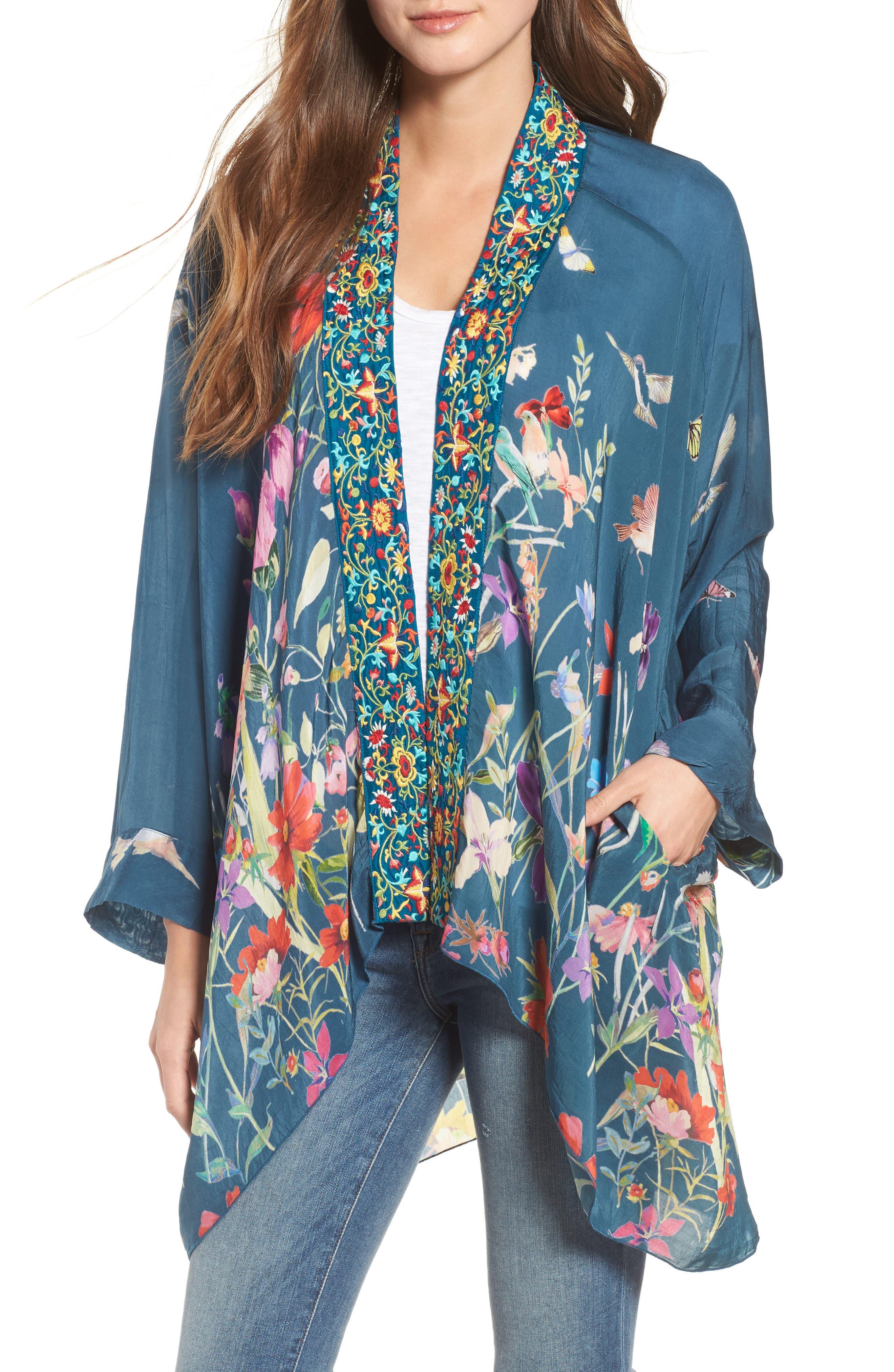 Summer Paisley Silk Kimono,                             Main thumbnail 1, color,                             Multi/ Blue