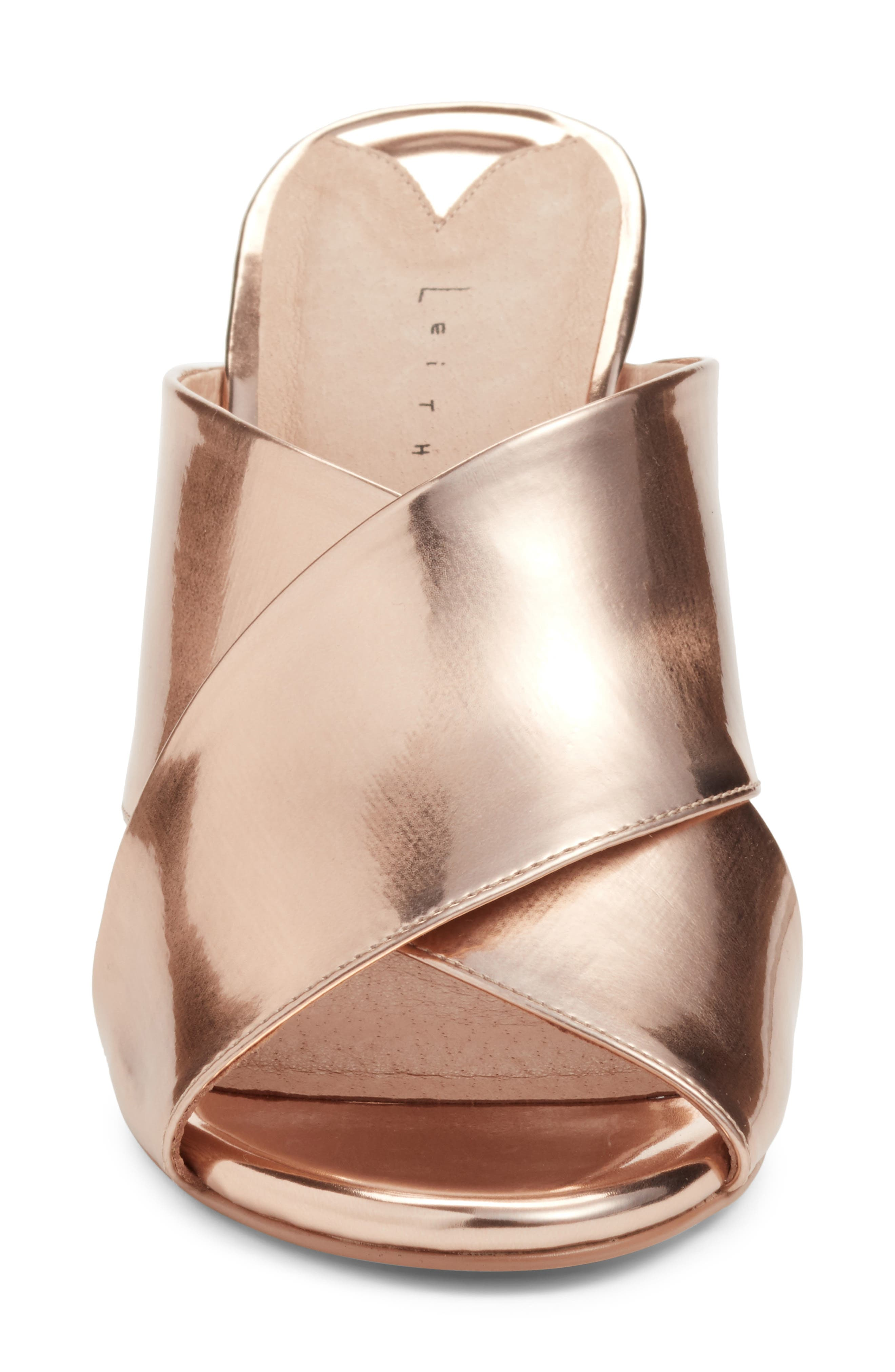 Cammie Block Heel Sandal,                             Alternate thumbnail 4, color,                             Rosegold Metallic Faux Leather