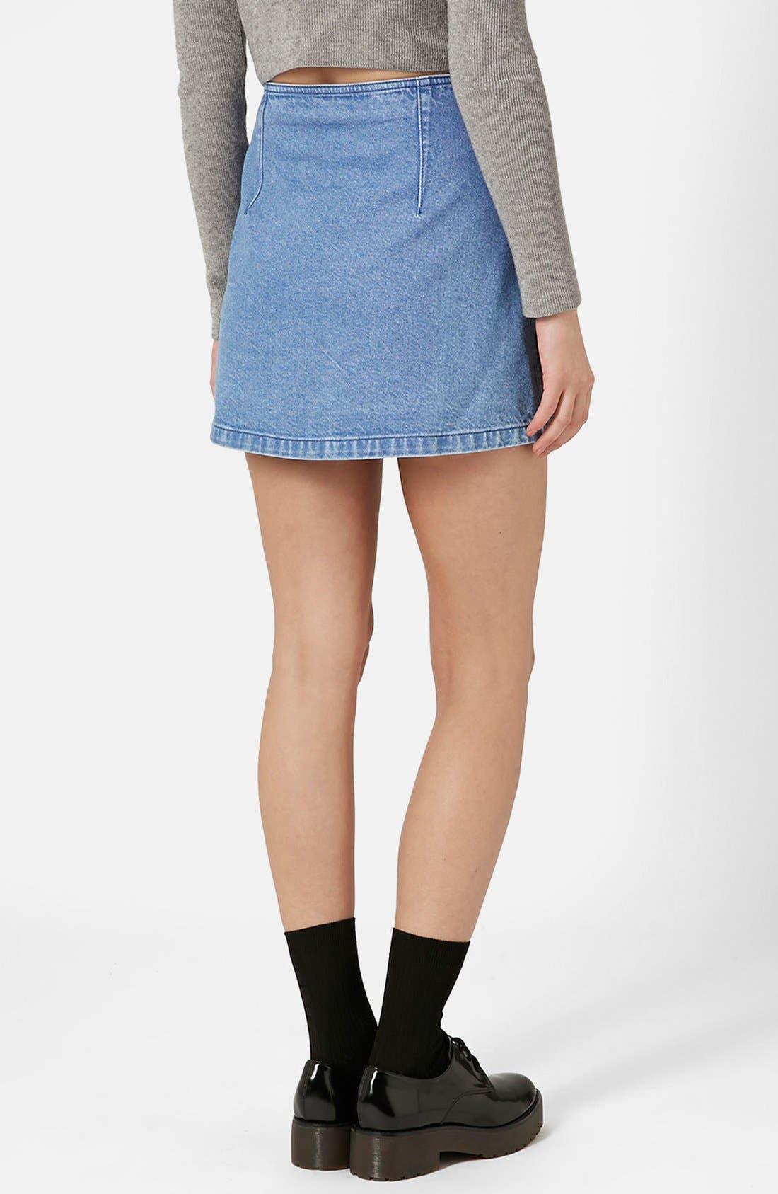 Alternate Image 2  - Topshop Moto Snap Front Denim Skirt (Brit Pop-In)