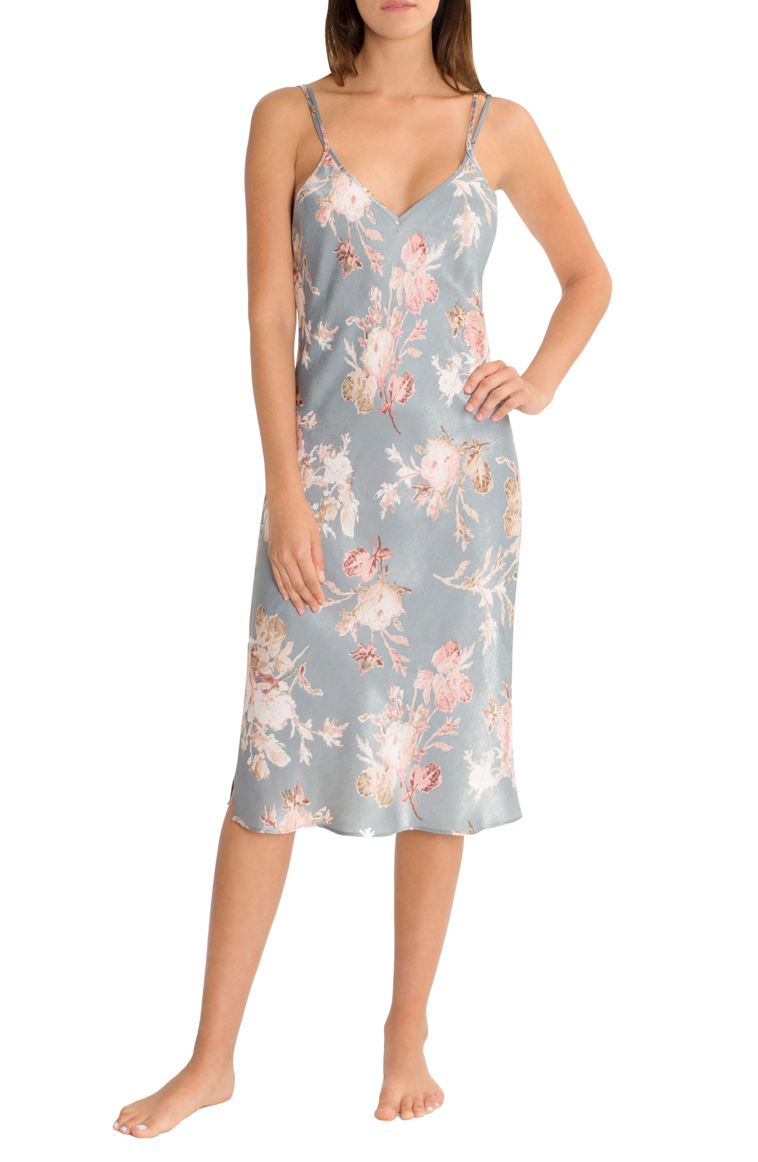 Main Image - Midnight Bakery Midi Satin Nightgown