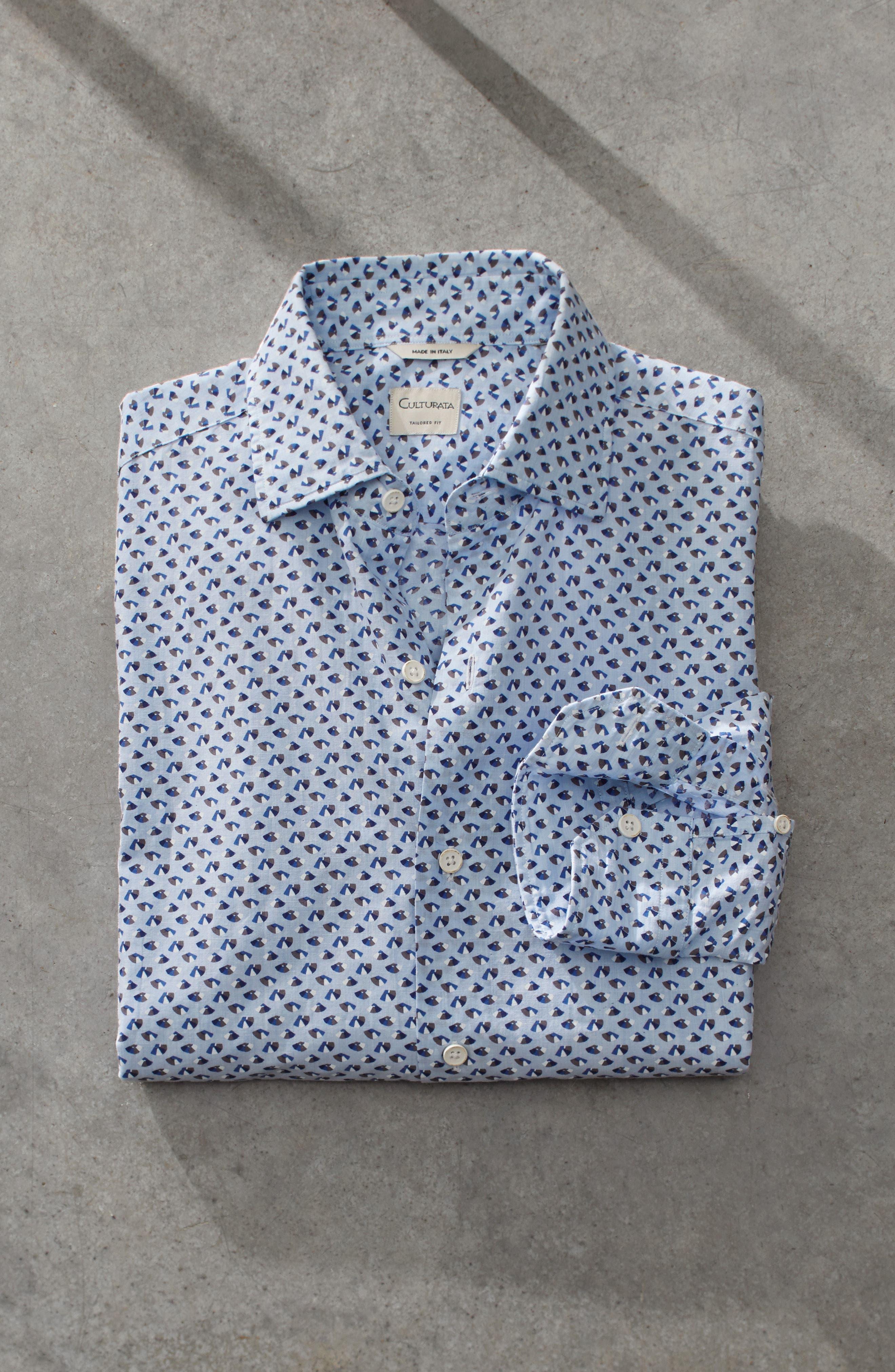 Slim Fit Print Cotton & Linen Sport Shirt,                             Alternate thumbnail 7, color,