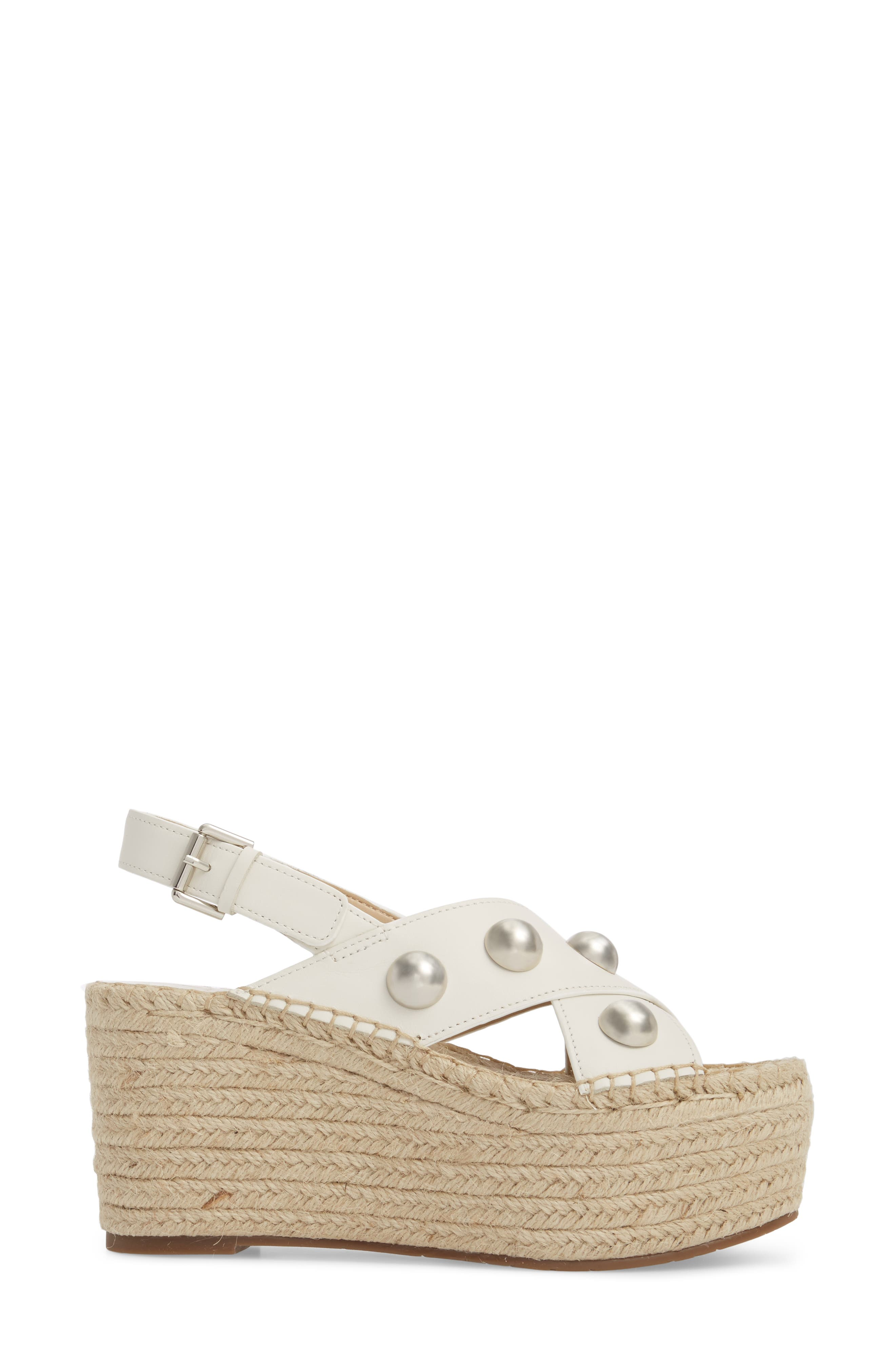 Rella Espadrille Platform Sandal,                             Alternate thumbnail 3, color,                             Ivory Leather