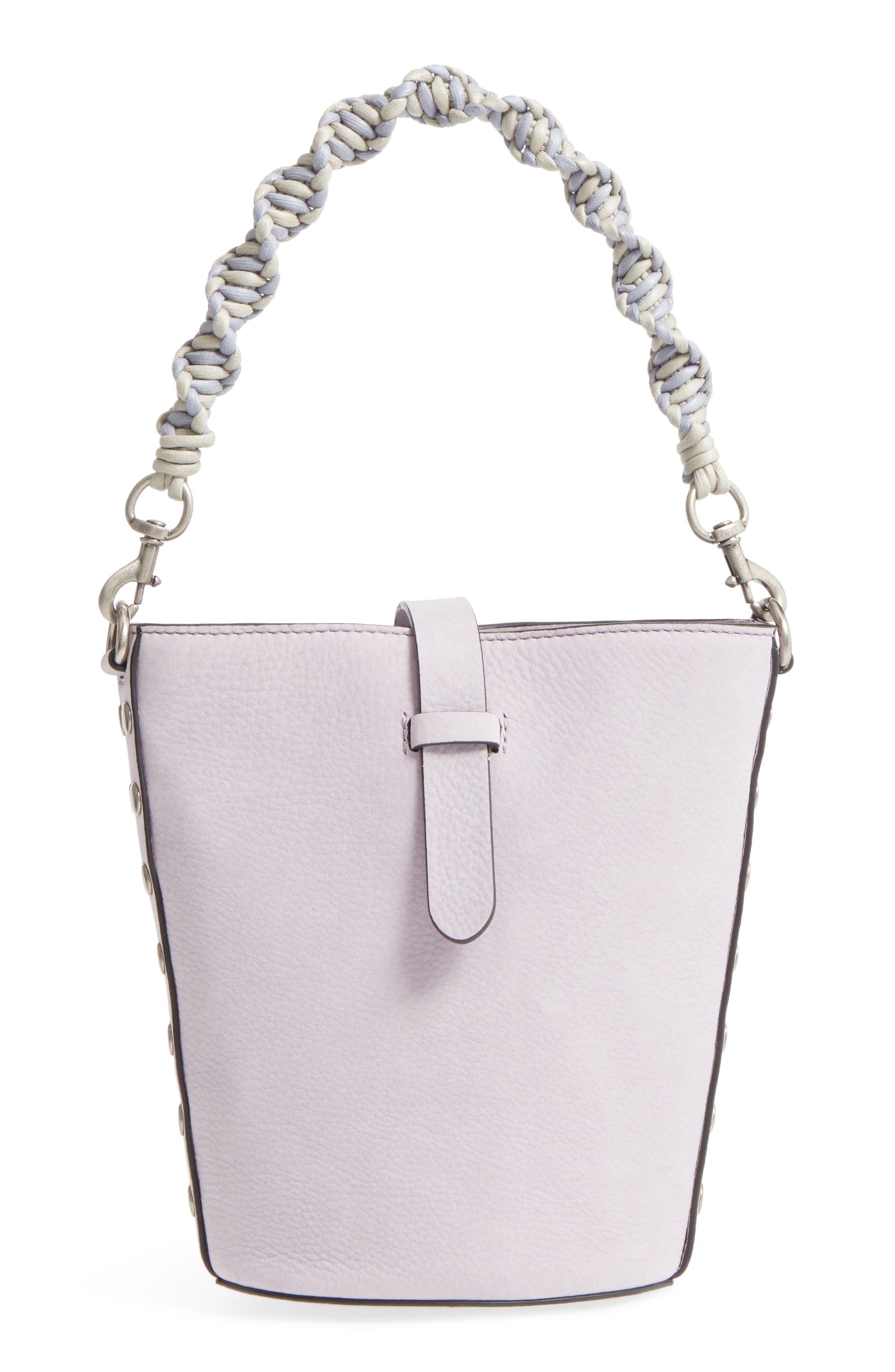 Slim Leather Bucket Bag,                             Main thumbnail 1, color,                             Violino