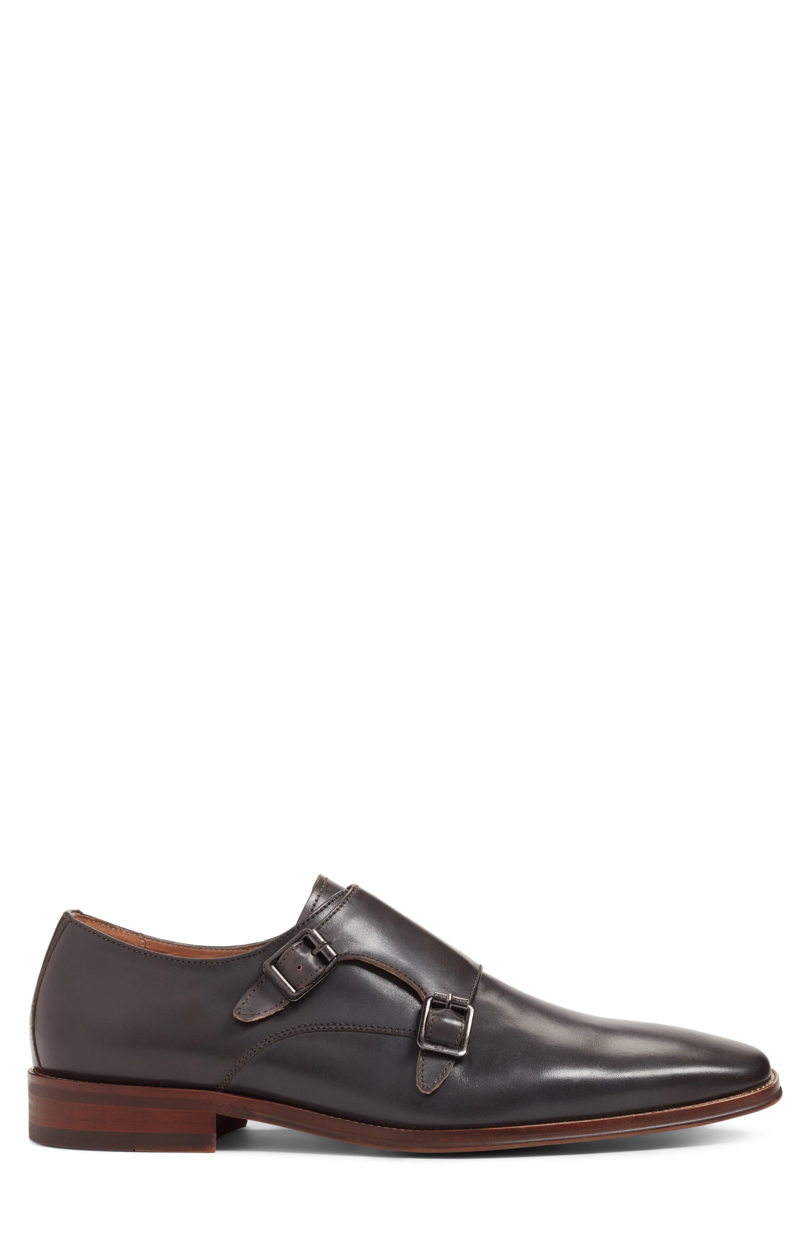 Sedona Double Strap Monk Shoe,                             Alternate thumbnail 3, color,                             Grey Leather