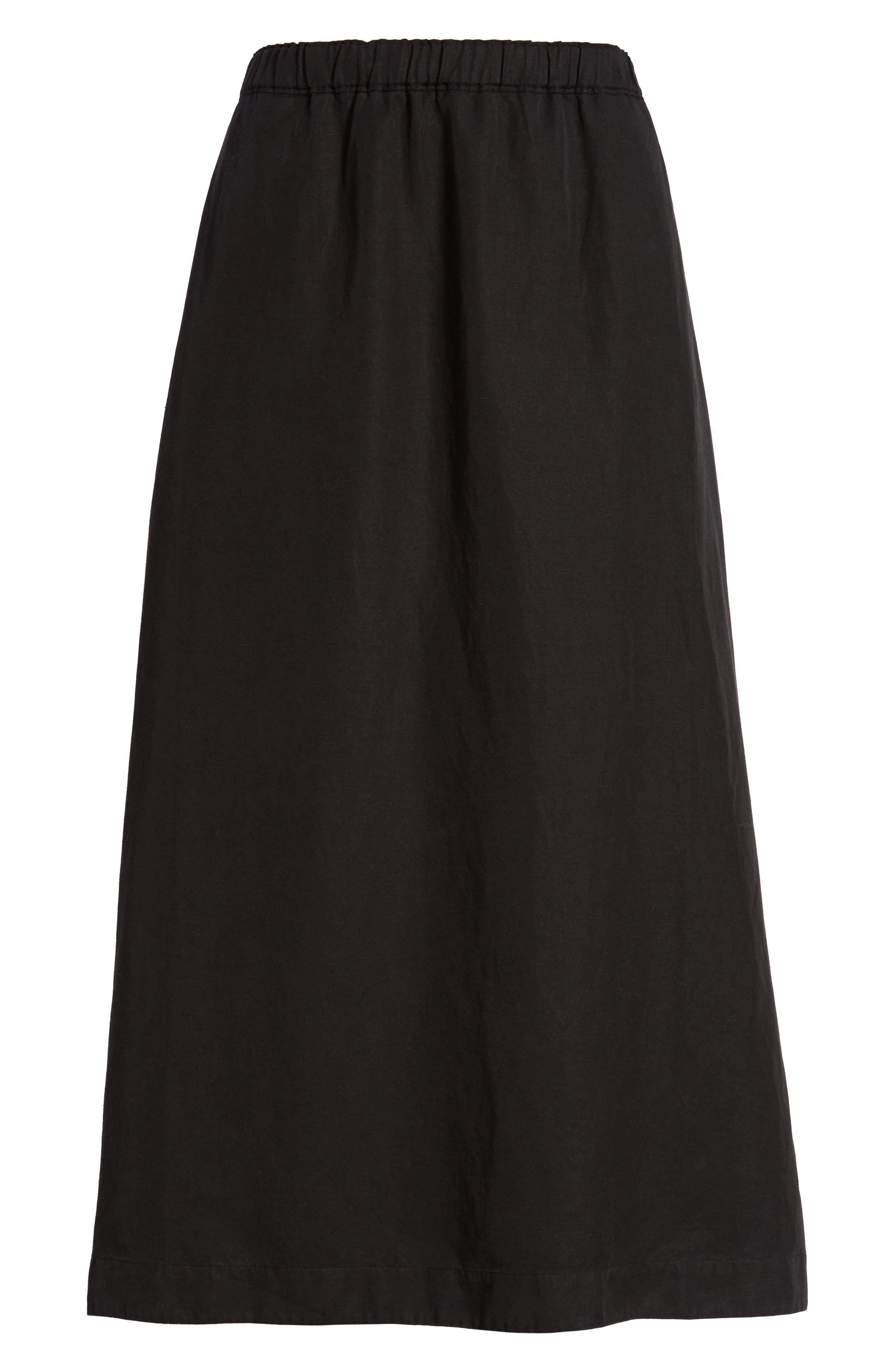 Tencel<sup>®</sup> Lyocell & Linen Midi Skirt,                             Alternate thumbnail 6, color,                             Black
