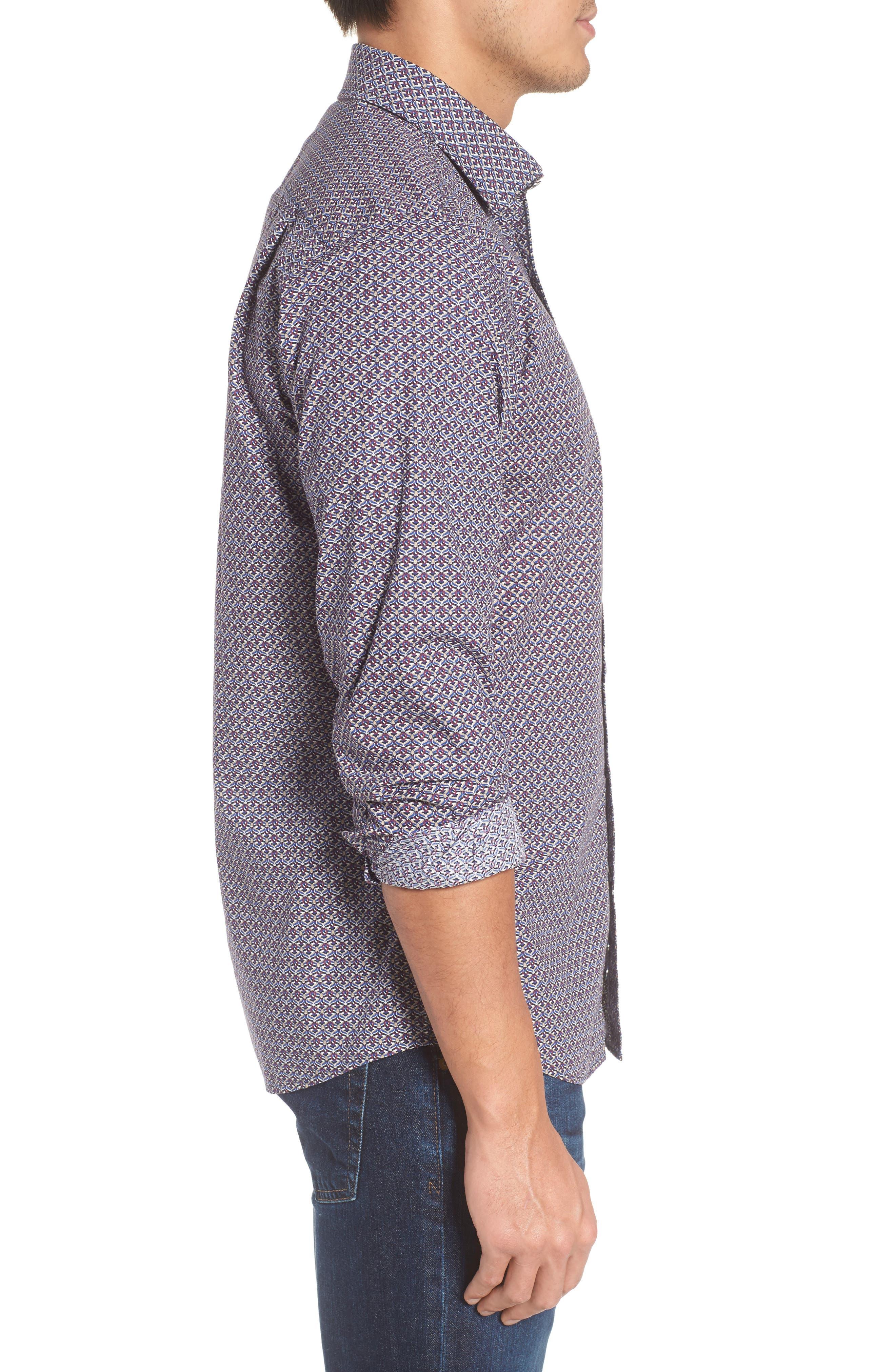 Fenton Park Regular Fit Sport Shirt,                             Alternate thumbnail 3, color,                             Royal