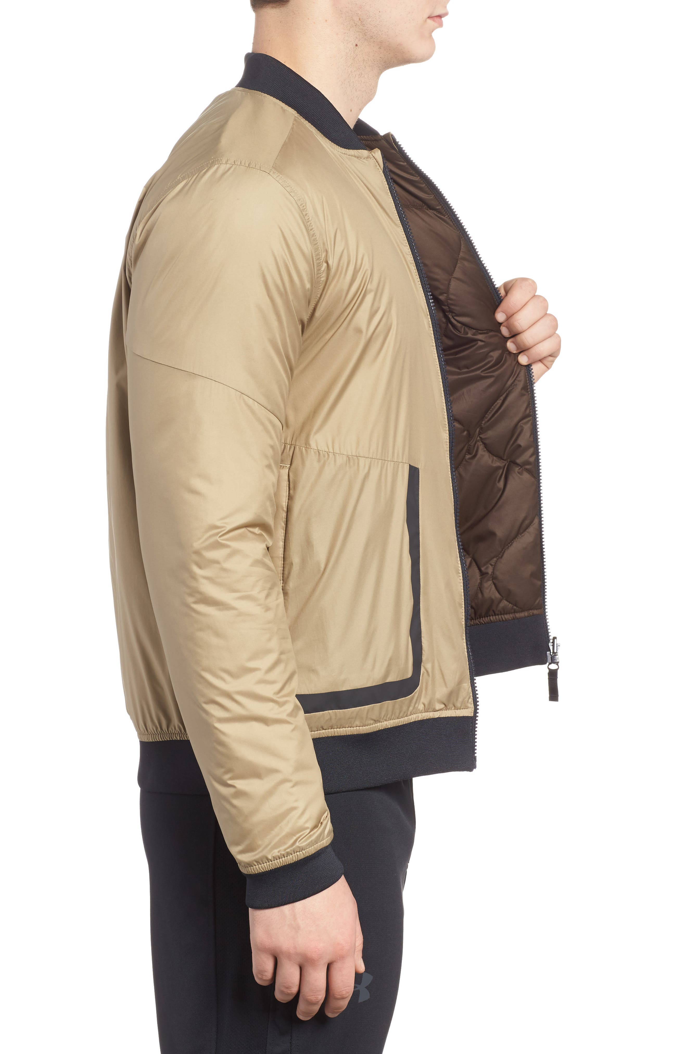 Sportstyle Reactor Reversible Bomber Jacket,                             Alternate thumbnail 3, color,                             Canvas / Bay Brown / Black
