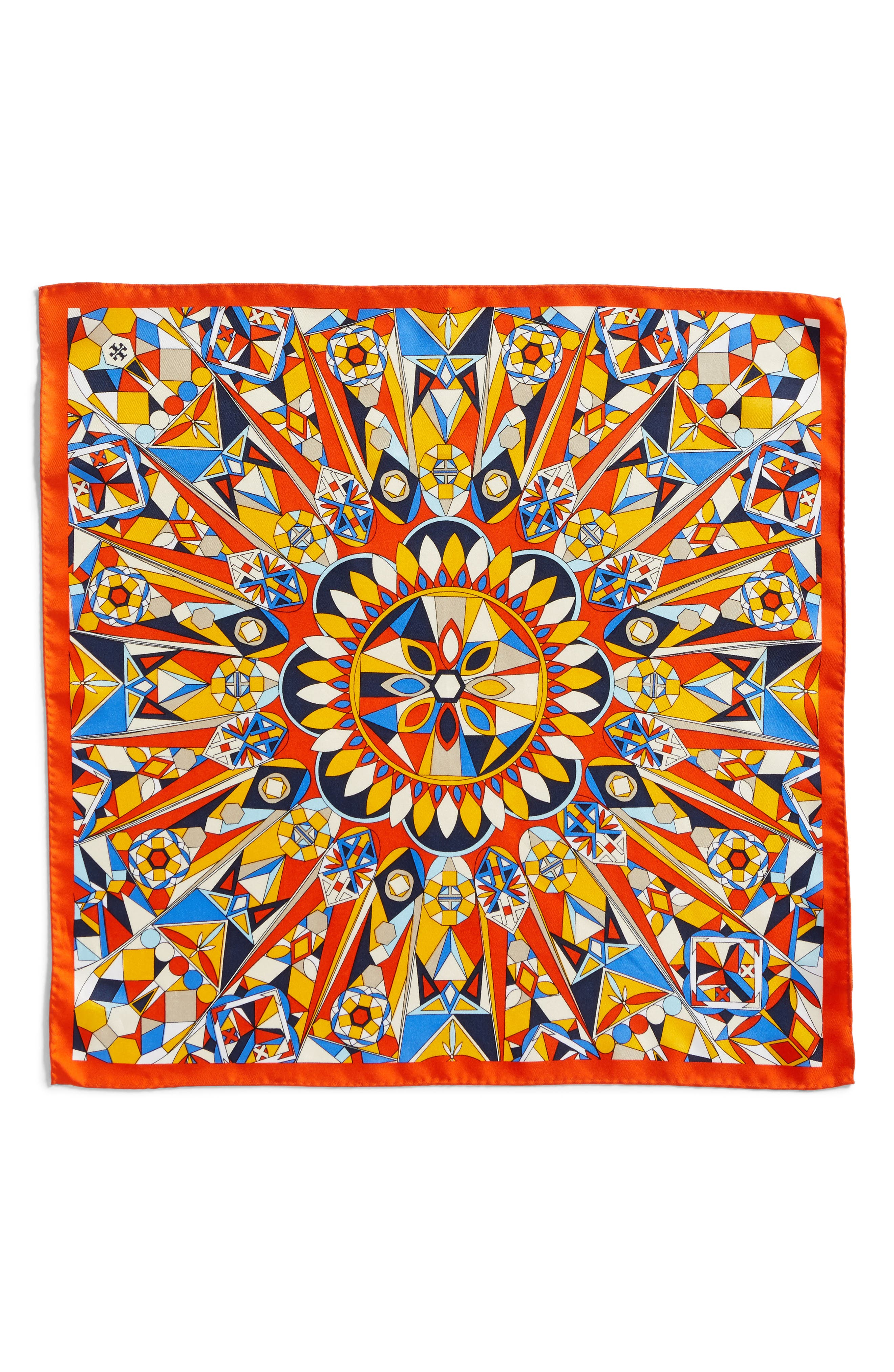 Psychedelic Geo Silk Neckerchief,                             Alternate thumbnail 3, color,                             Sweet Tangerine