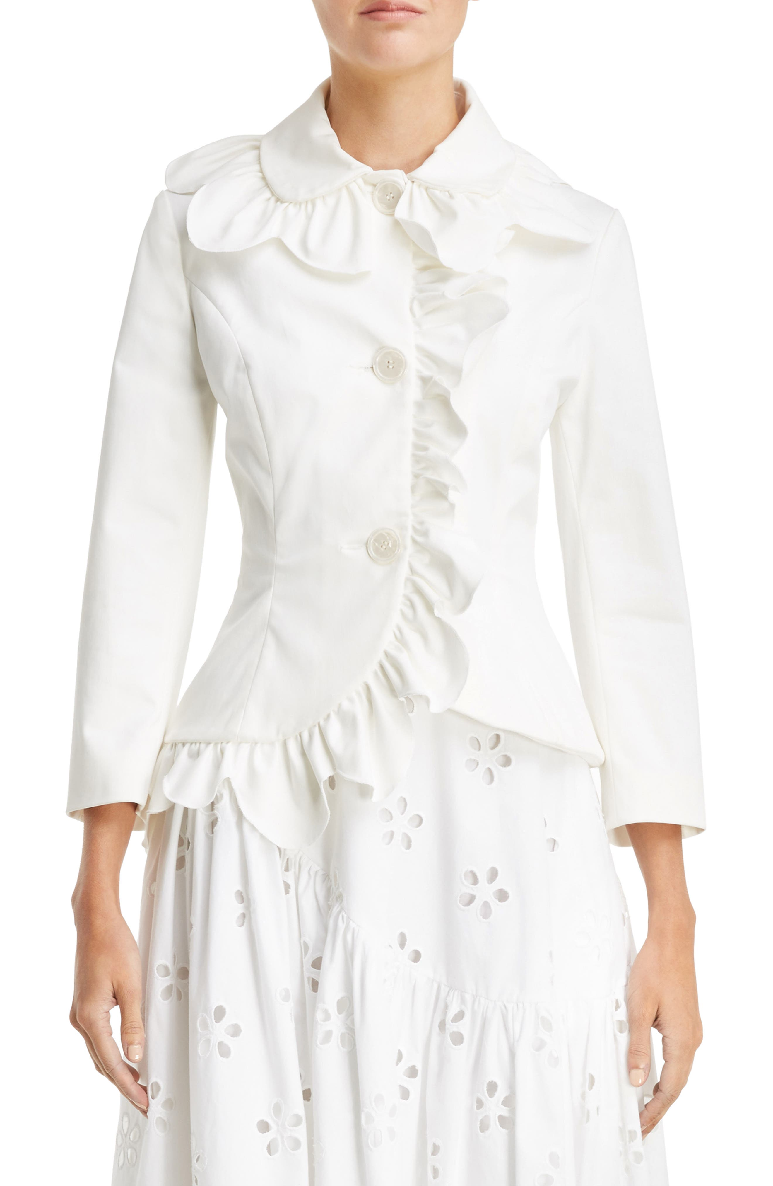 Scallop Frill Fitted Jacket,                             Main thumbnail 1, color,                             Ivory