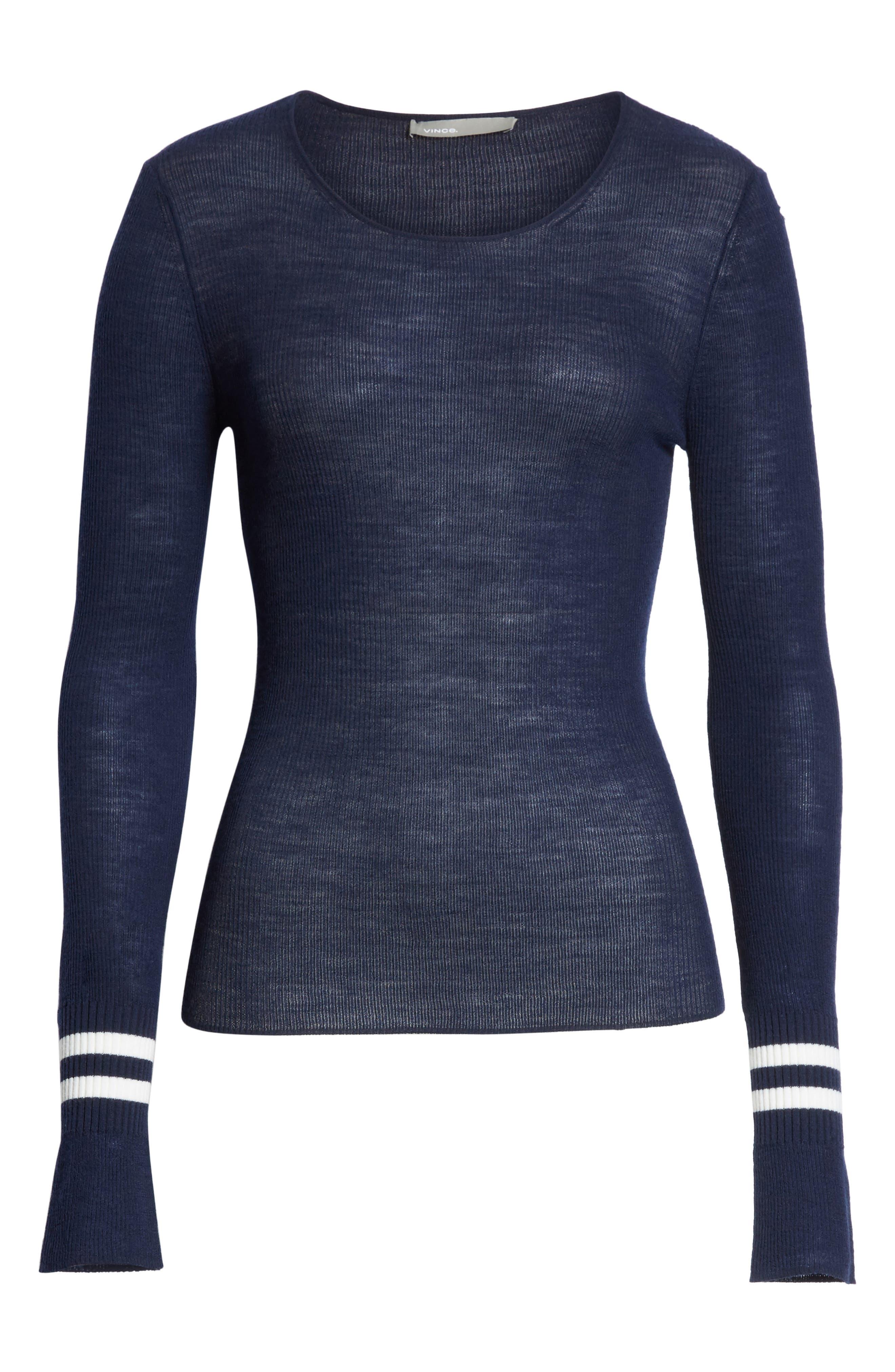 Stripe Cuff Wool Sweater,                             Alternate thumbnail 6, color,                             Coastal/ Optic White