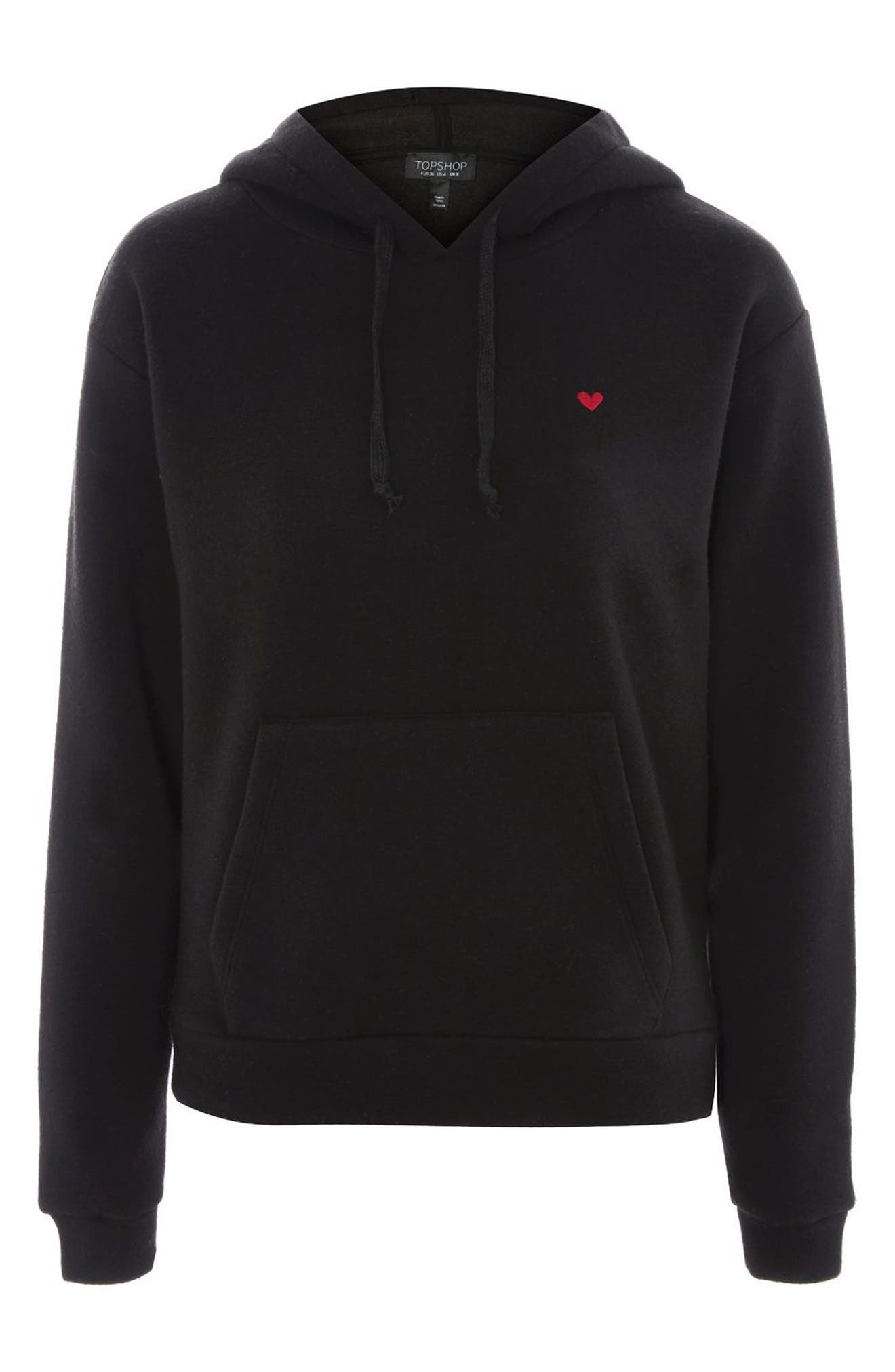 Embroidered Heart Hoodie,                             Alternate thumbnail 3, color,                             Black