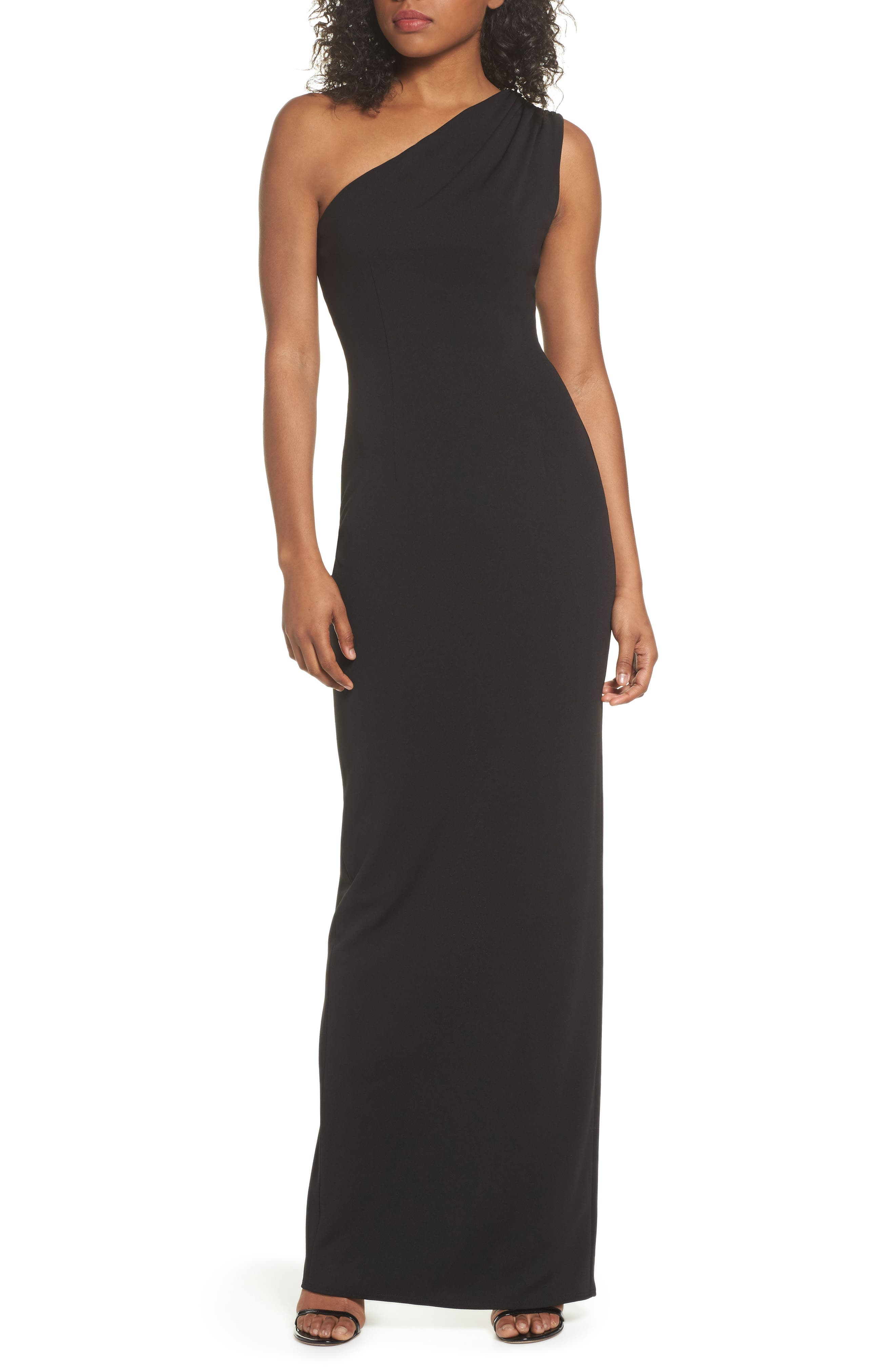 Katie May One-Shoulder Crepe Column Gown