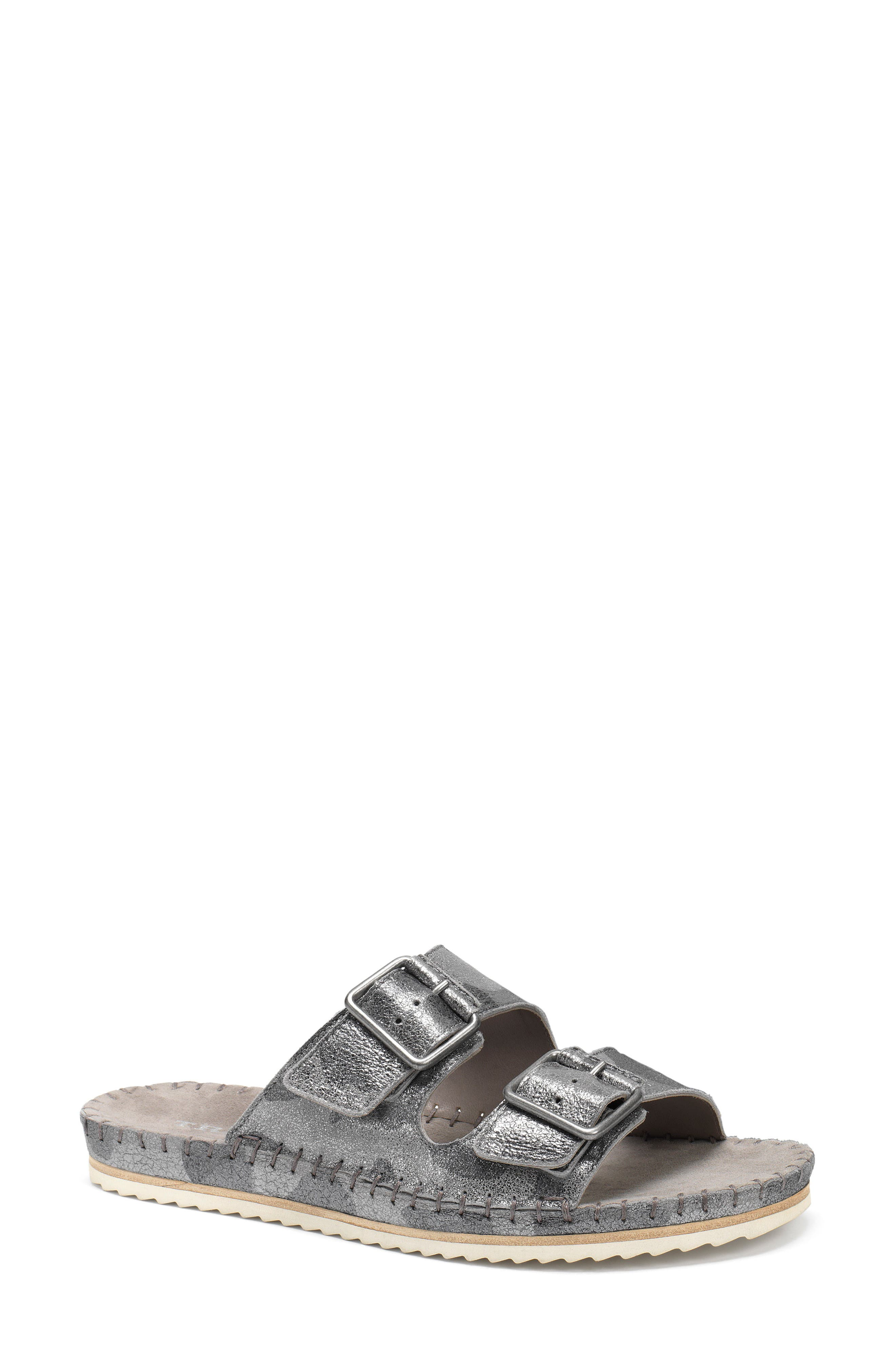 Carli Slide Sandal,                         Main,                         color, Pewter Camo Metallic Suede