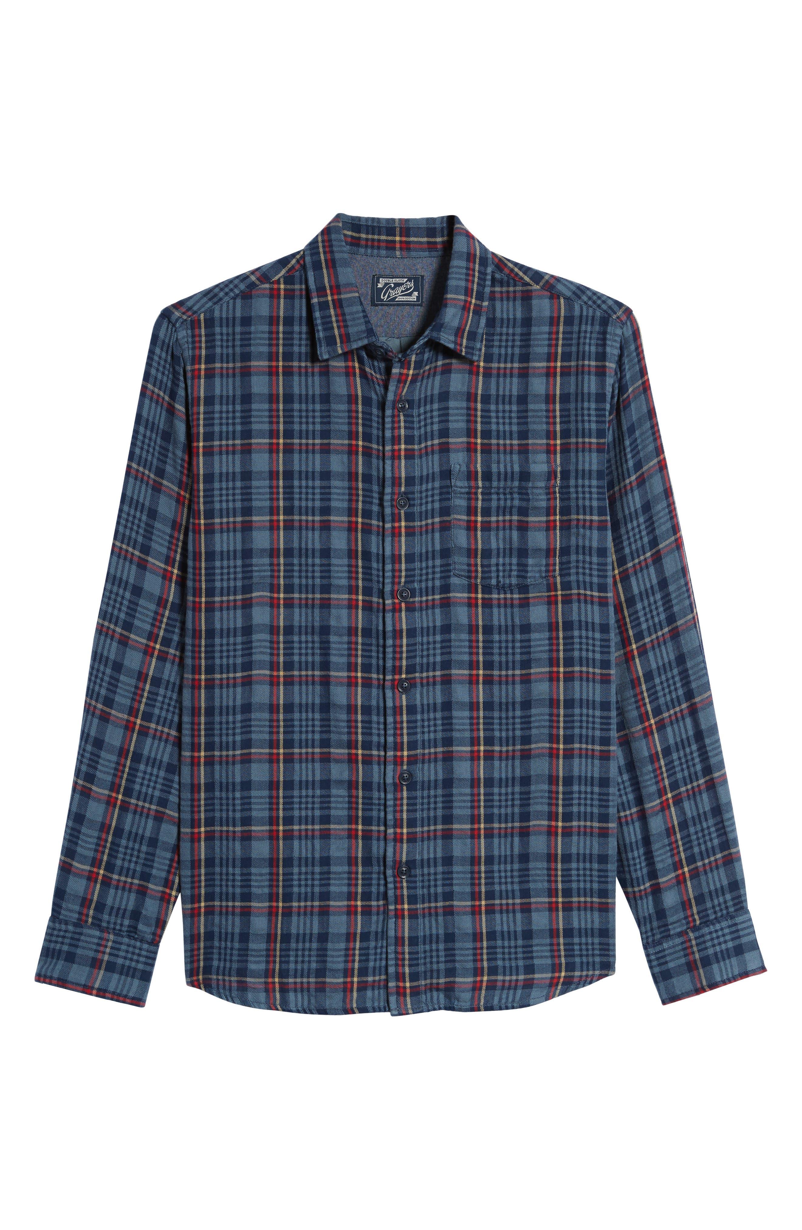 Alton Double Cloth Plaid Sport Shirt,                             Alternate thumbnail 6, color,                             Navy Grey Plaid