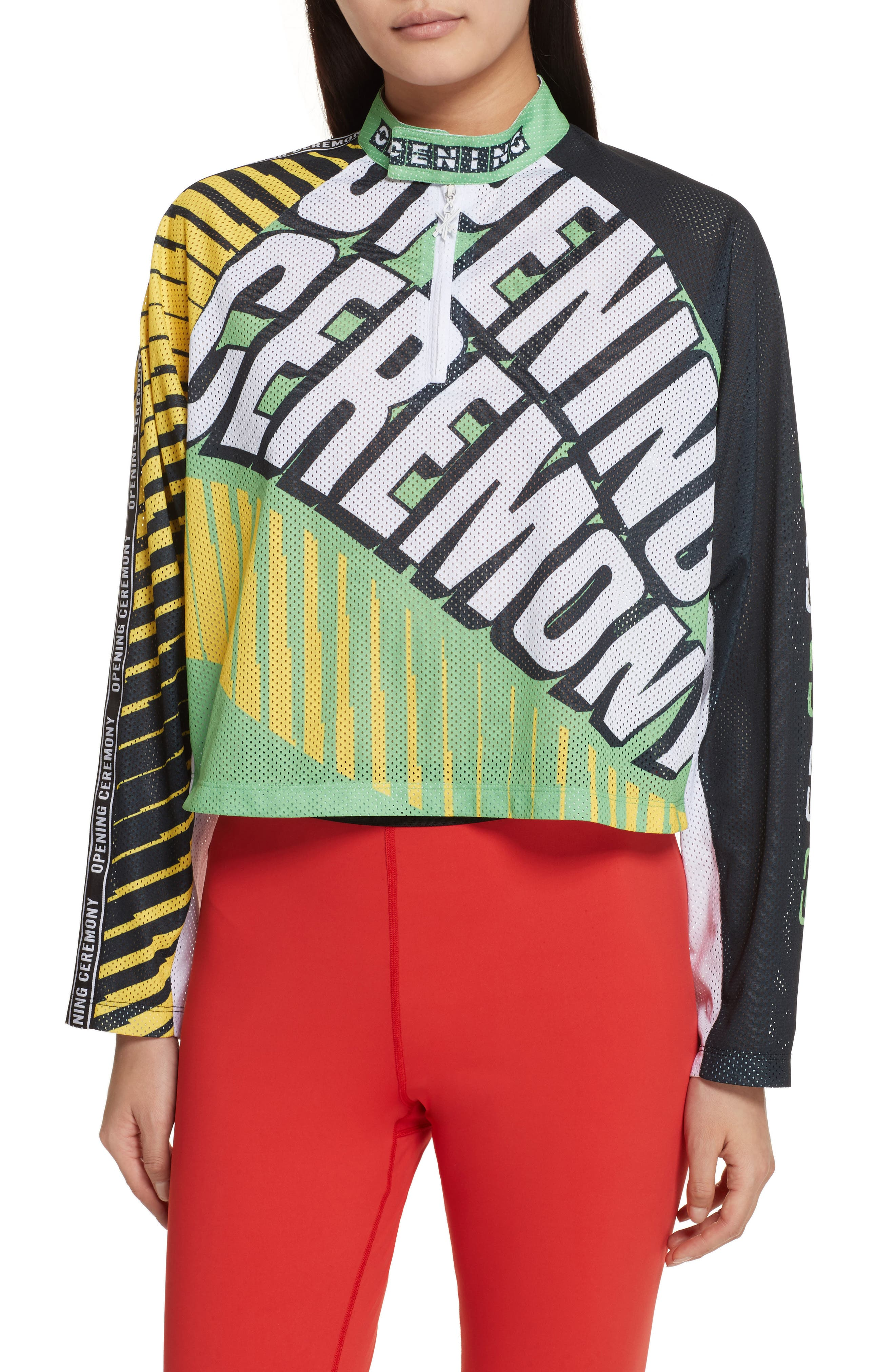 Main Image - Opening Ceremony Mesh Moto Crop Top (Limited Edition)