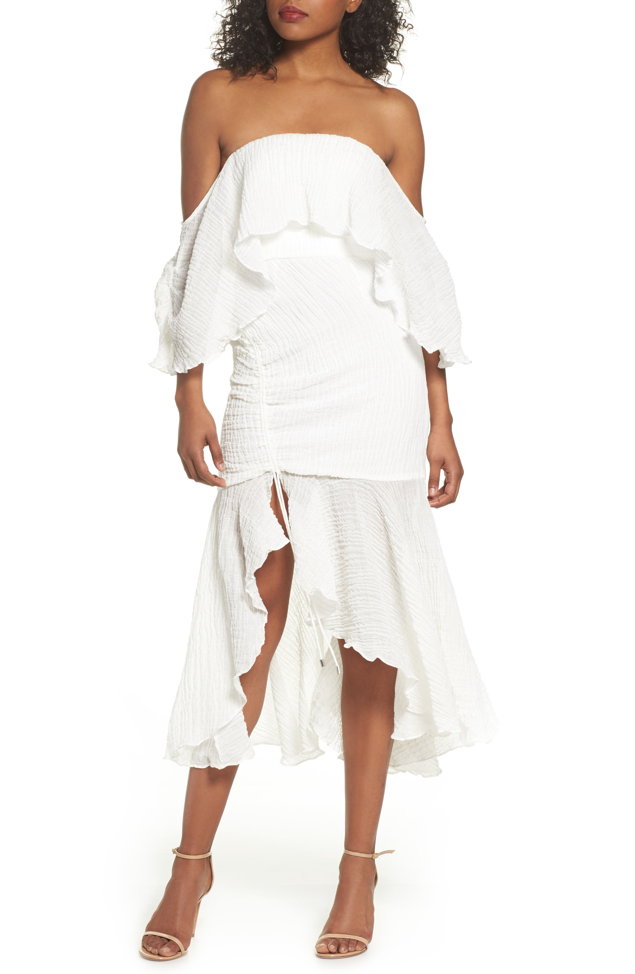 Sacrifices Ruched Off the Shoulder Dress,                             Main thumbnail 1, color,                             Ivory