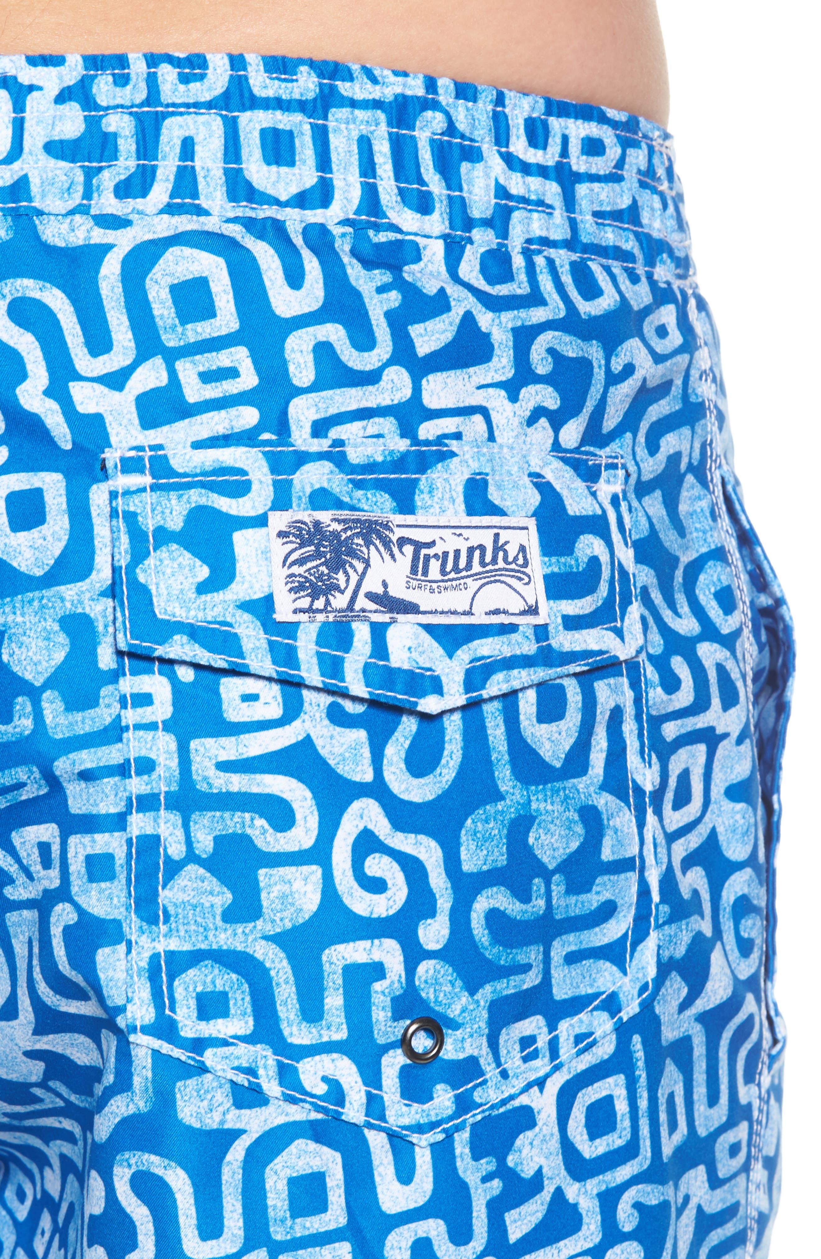 Trunks Swim & Surf CO. Swami Geo Print Board Shorts,                             Alternate thumbnail 4, color,                             Nautical Blue/ White