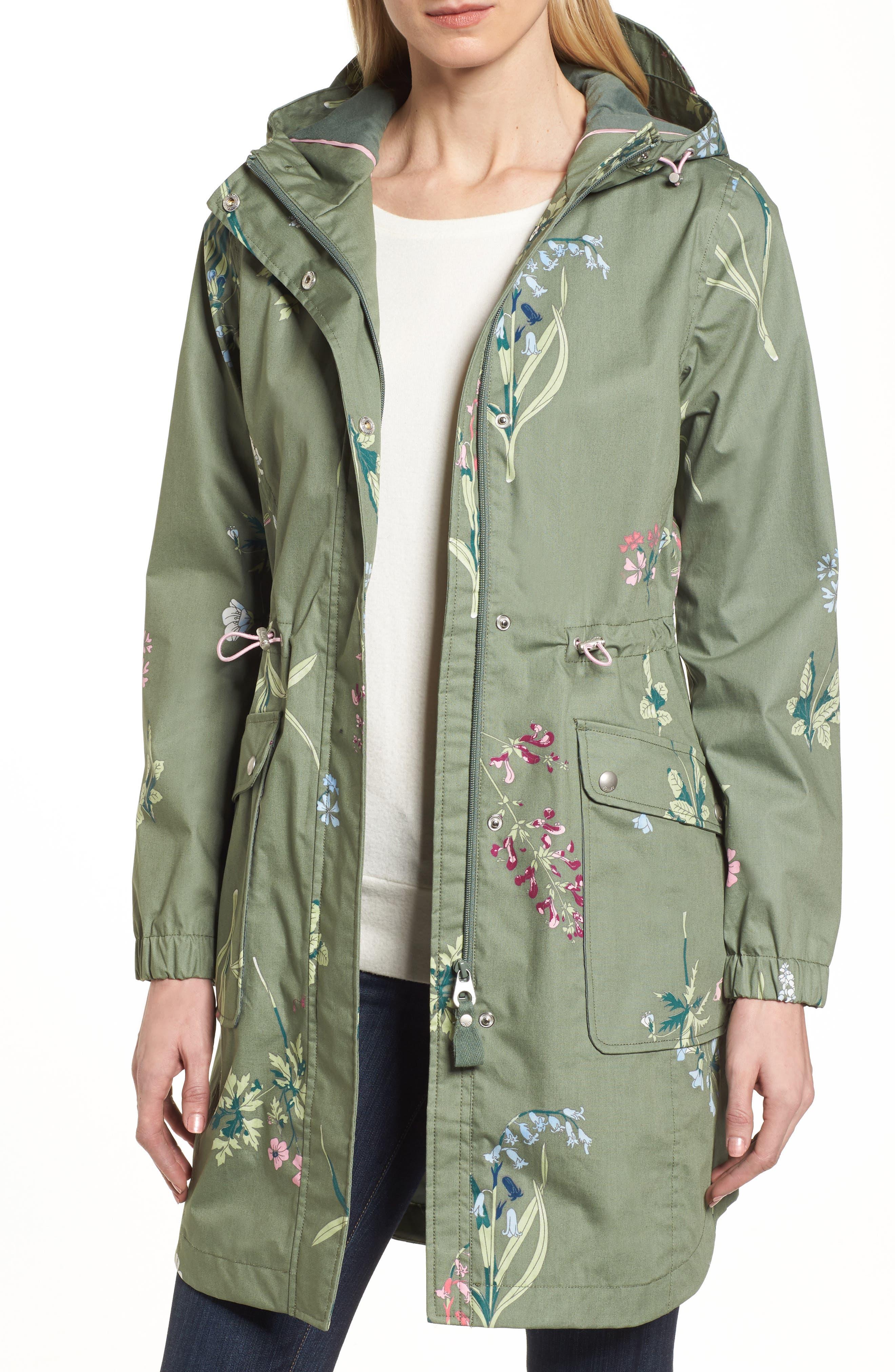 Right as Rain - Coastline Waterproof Cotton Jacket,                             Main thumbnail 1, color,                             Laurel Botanical