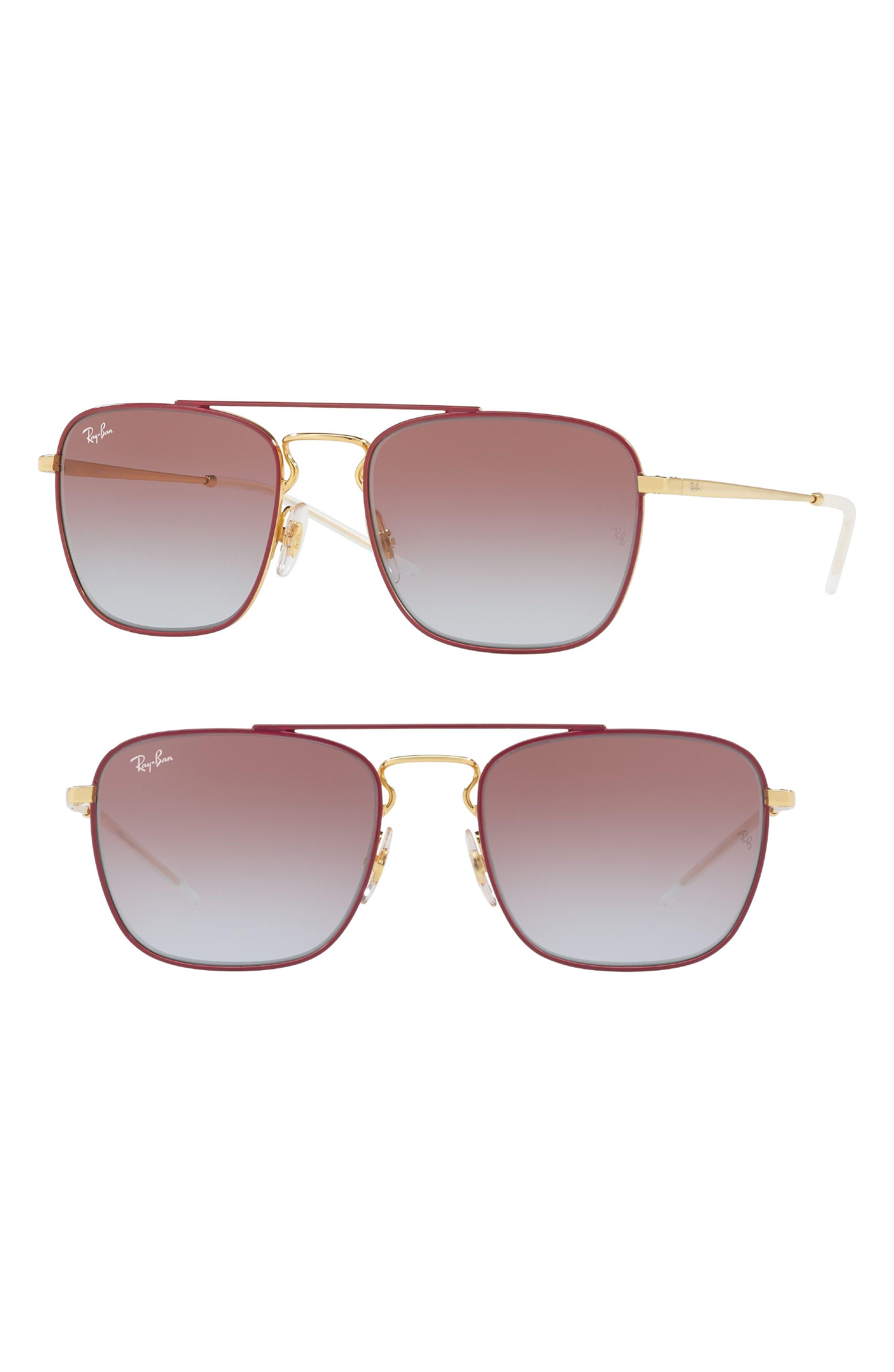55mm Metal Aviator Sunglasses,                         Main,                         color, Bordeaux